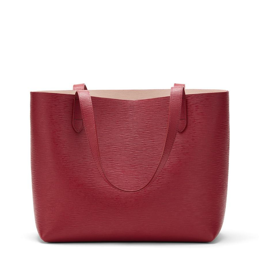 Women's Small Structured Leather Tote Bag in Red/Blush Pink | Textured Leather by Cuyana