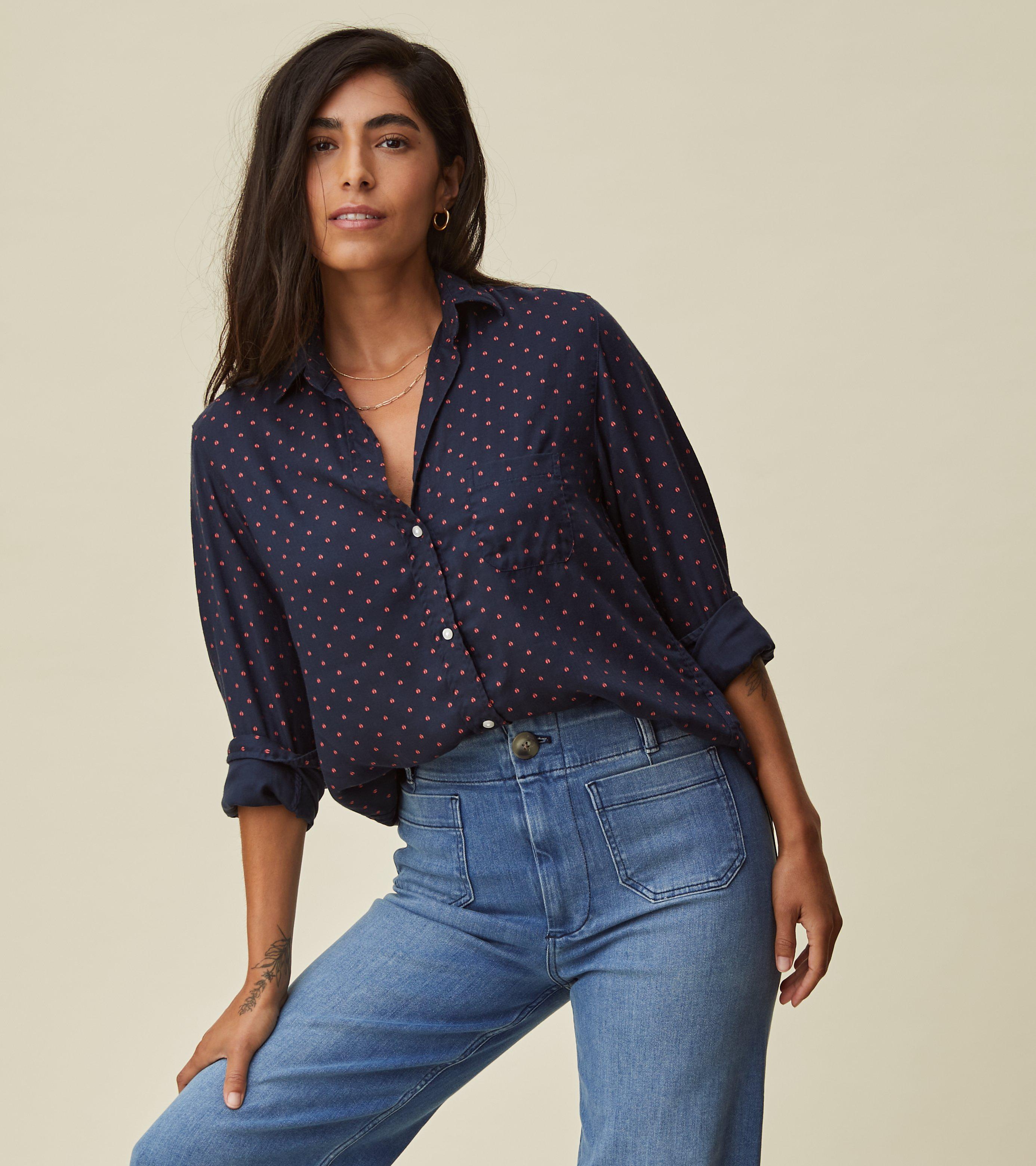 The Hero Button-Up Shirt Navy with Red Ladybugs, Liquid Flannel