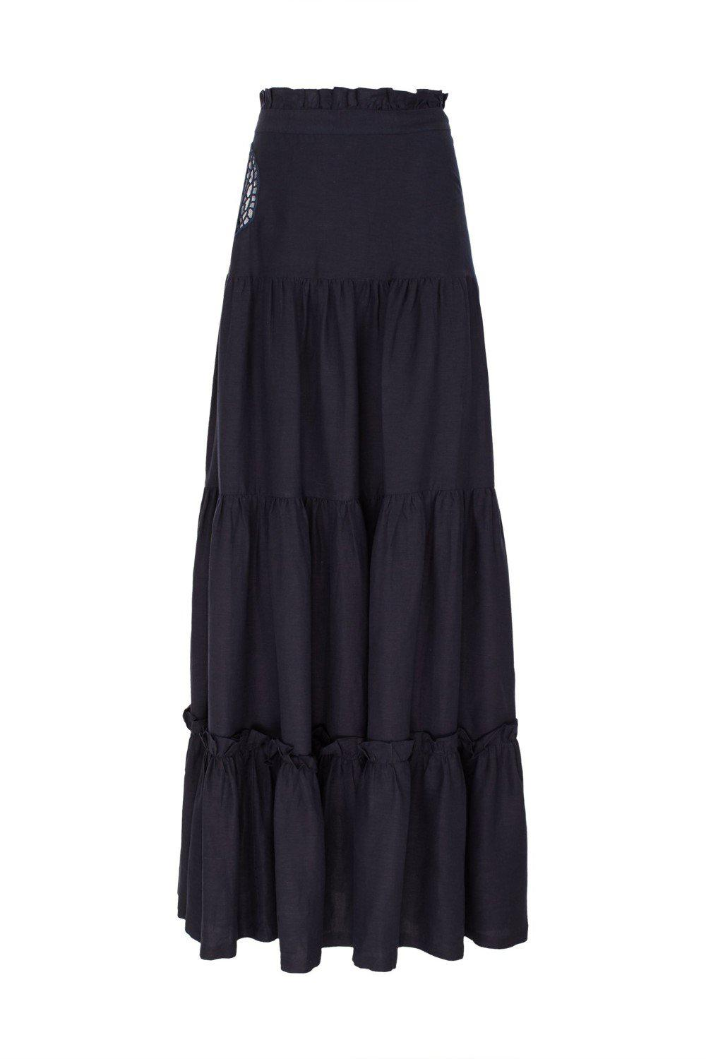 Marine Long Skirt With Seashell Embroidery 2