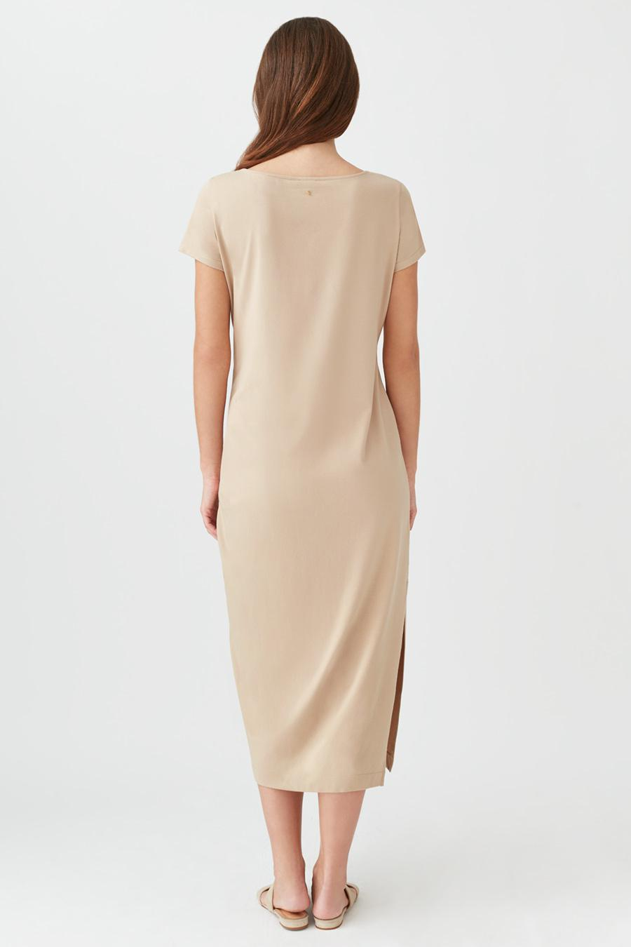 Women's Gathered Front Tee Dress in Dune | Size: Small | Pima Modal Spandex Blend by Cuyana 2
