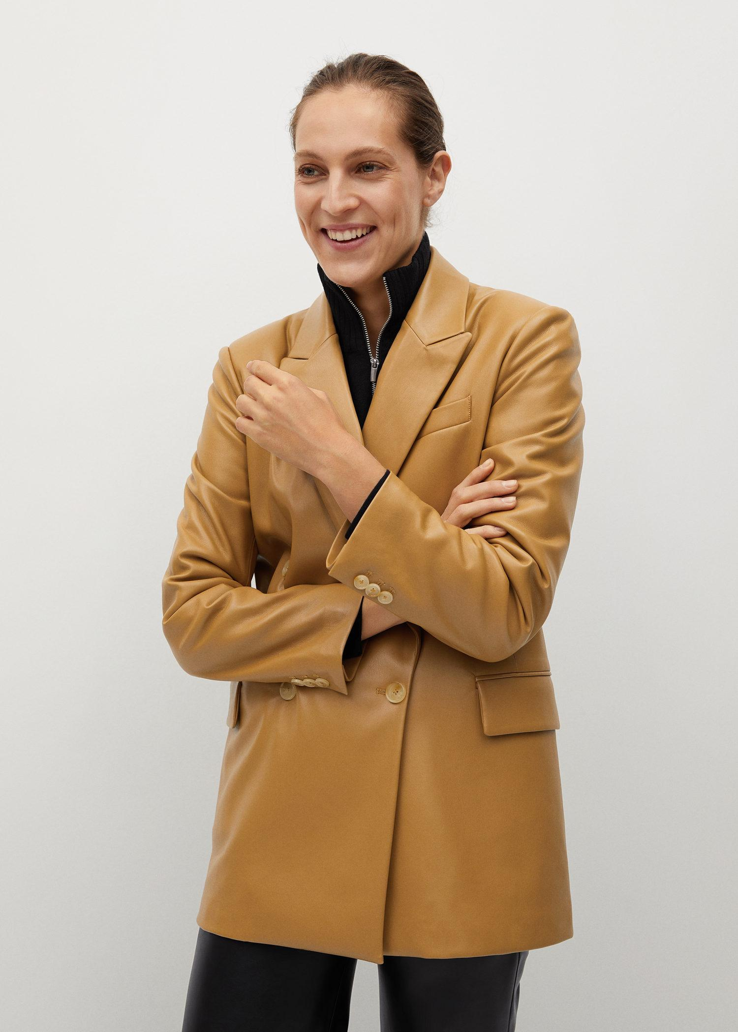 Faux-leather double-breasted blazer