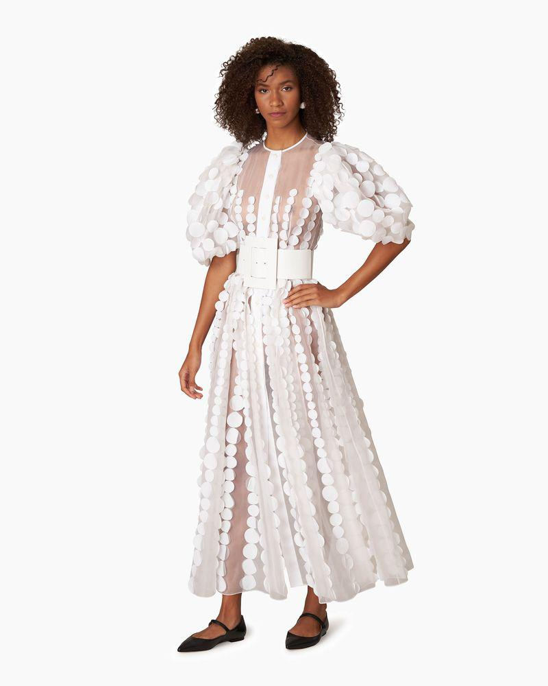 Puff Sleeve Embroidered Maxi Dress