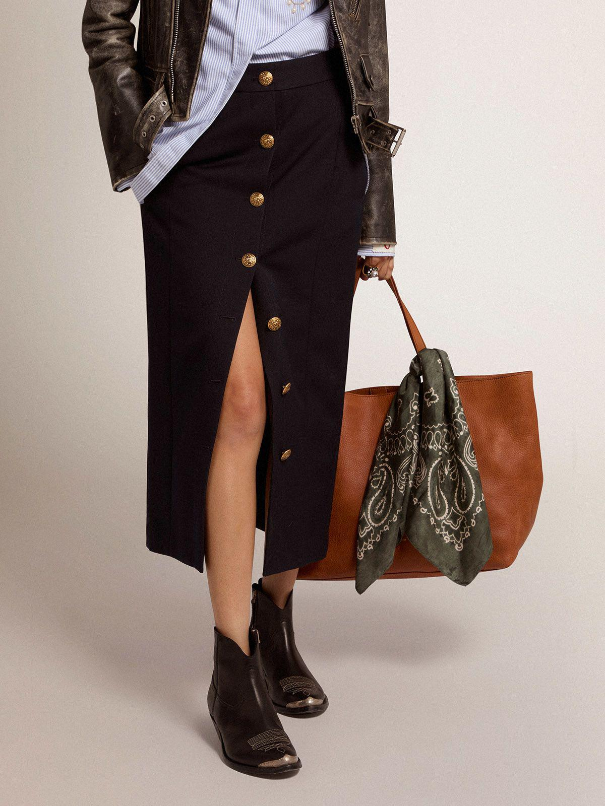Golden Collection pencil skirt in dark blue wool with gold-colored heraldic buttons