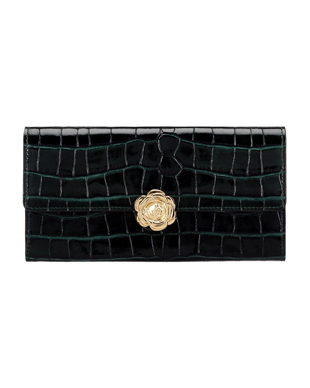 GREEN CROC-EMBOSSED CONTINENTAL WALLET