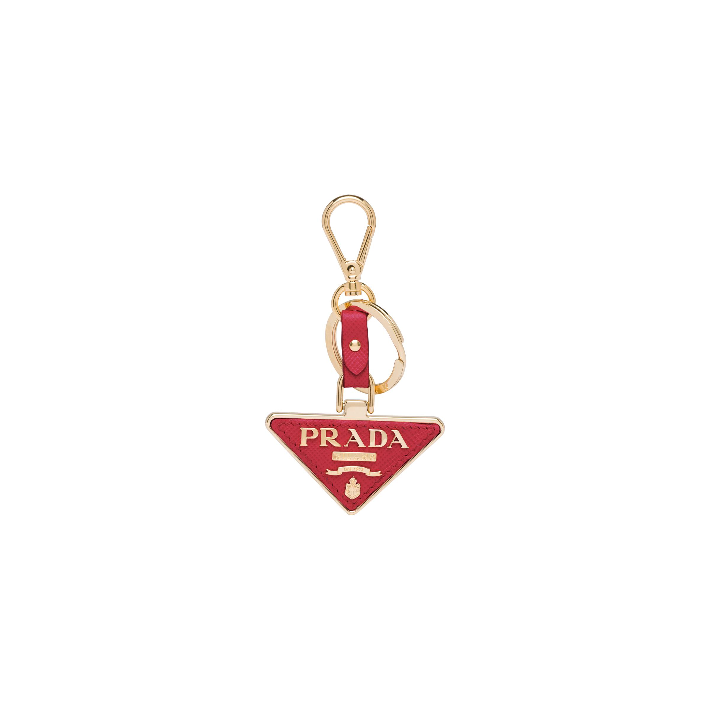 Saffiano Leather And Metal Keychain Women Fiery Red