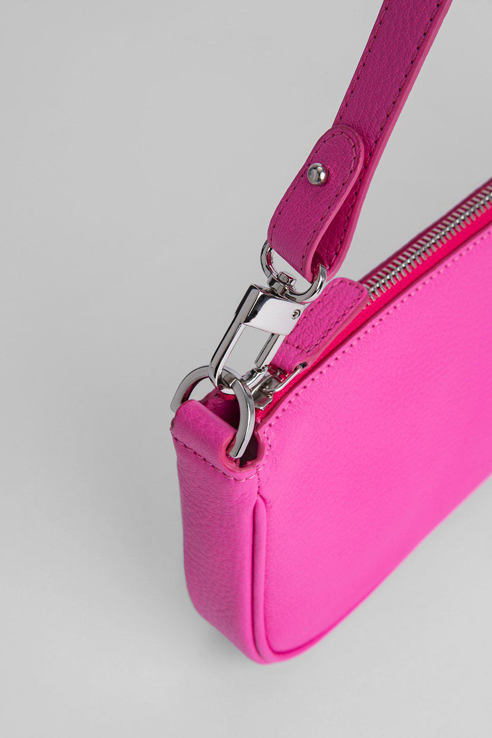 Rachel Hot Pink Grained Leather 2