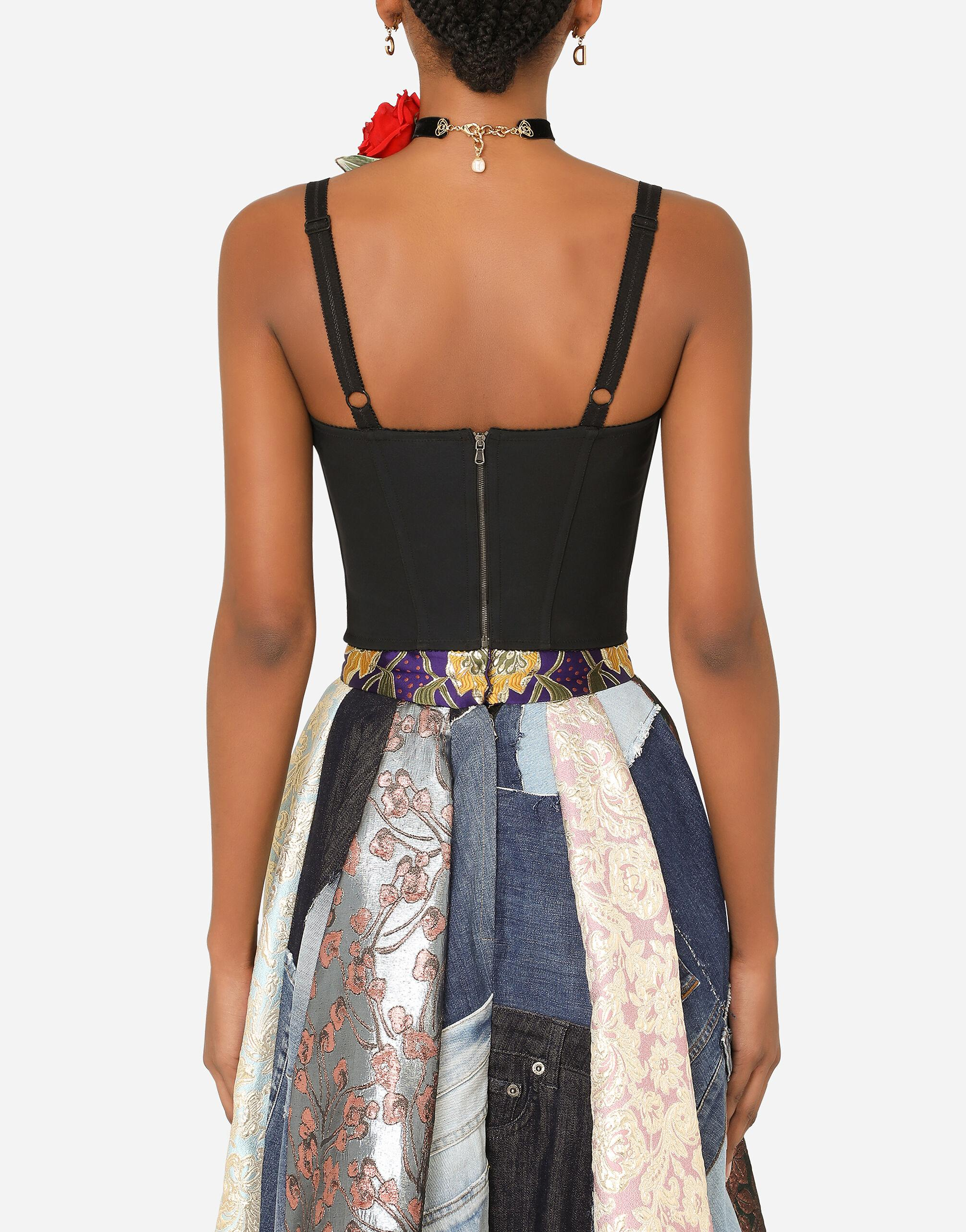 Patchwork brocade and jacquard bustier top 1