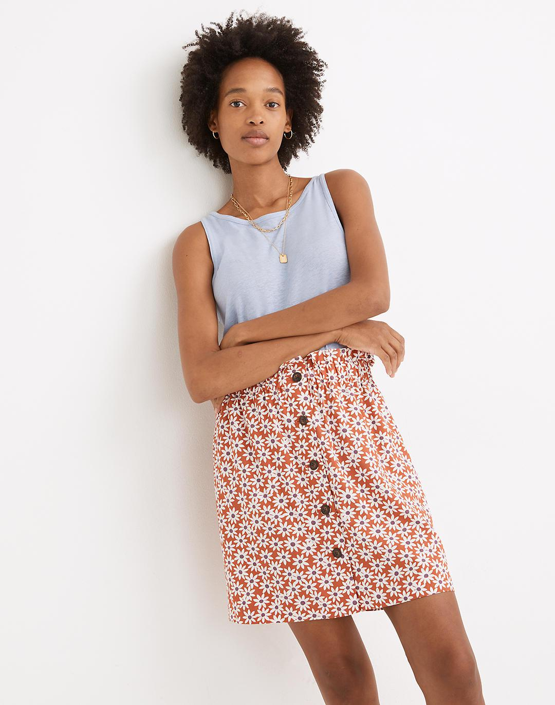 Paperbag Button-Front Mini Skirt in Falling Daisies