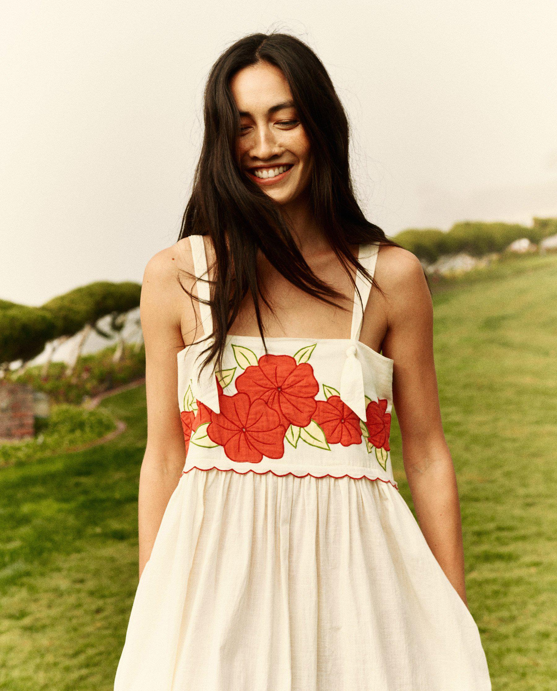 The Applique Floral Horizon Dress. -- Cream with Red