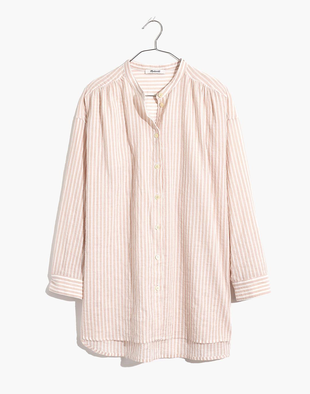 Banded Collar Tunic Top in Stripe 4