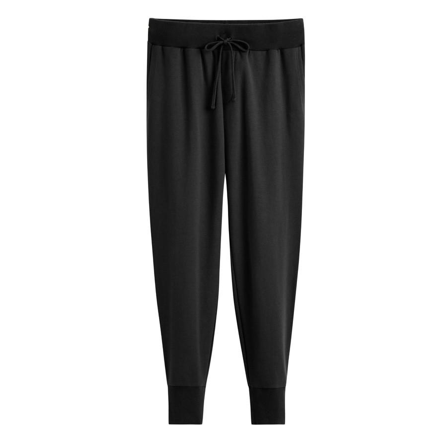 Women's French Terry Tapered Lounge Pant in Black | Size: