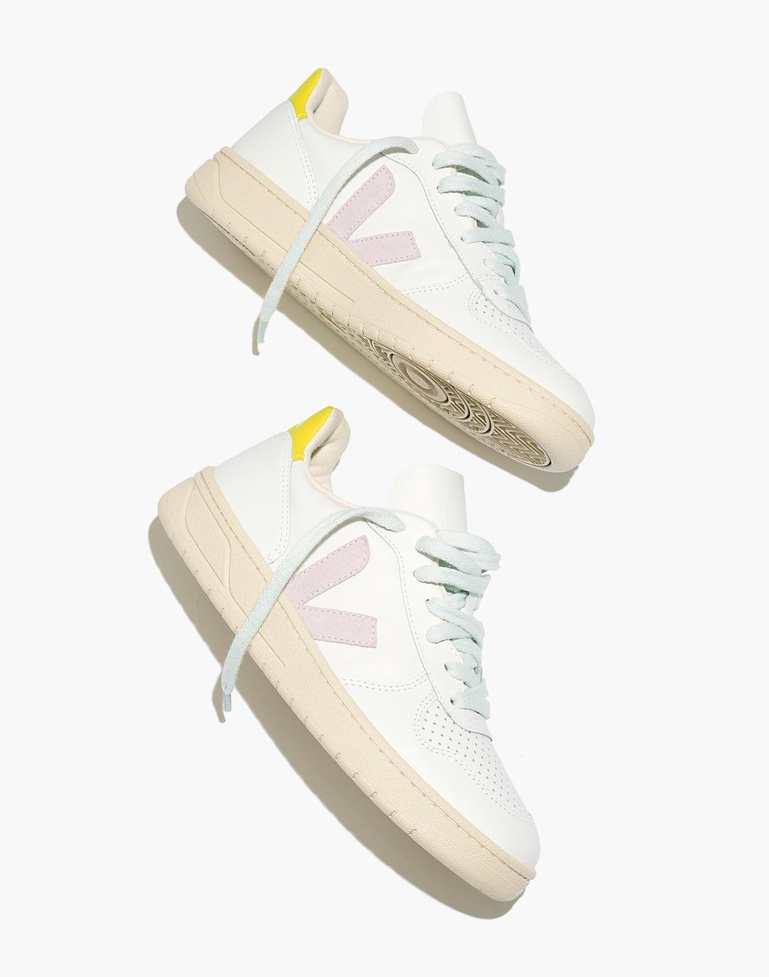 Madewell x Veja™ Leather and Suede V-10 Sneakers in Pastel Neon Colorblock