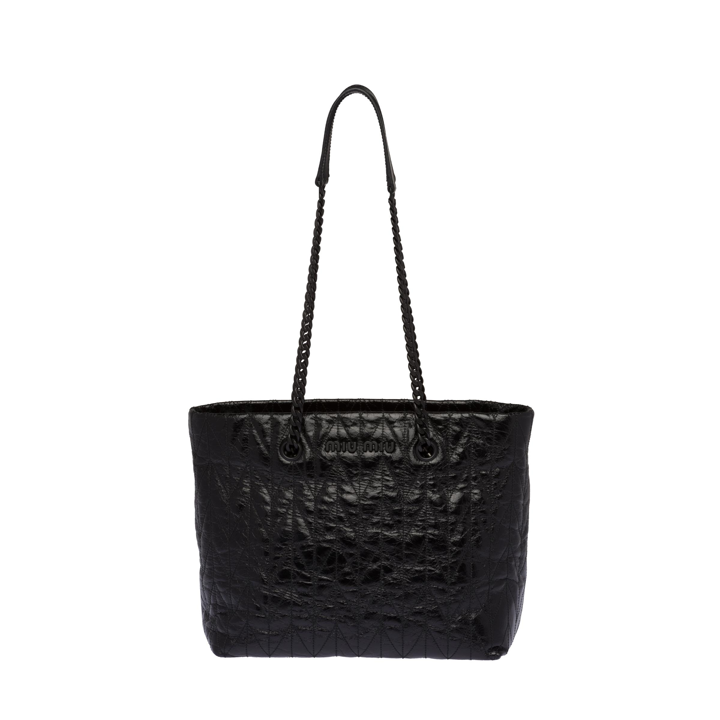 Quilted Shiny Leather Tote Bag Women Black