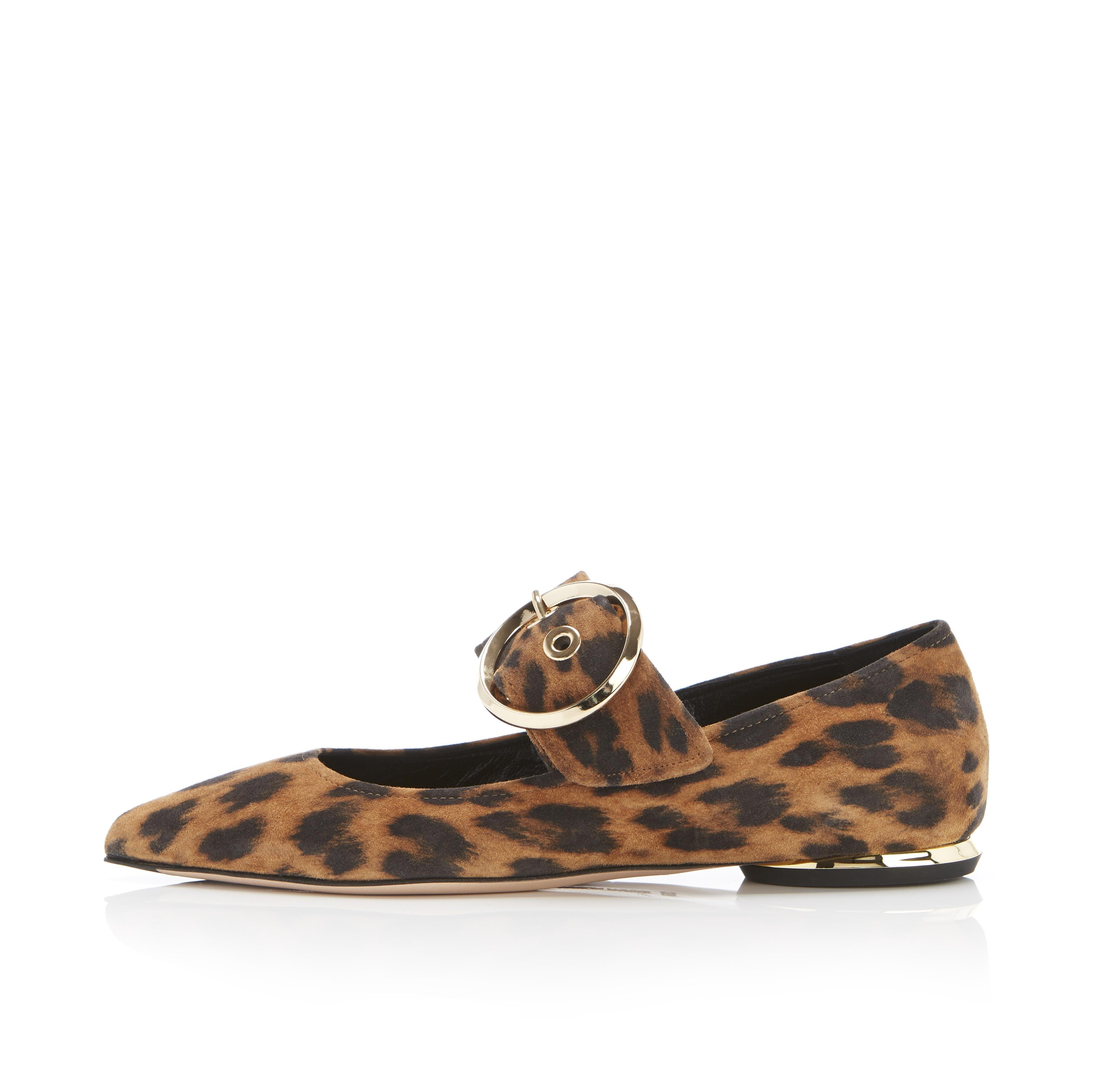 Nina | Leopard Print Suede Pointy Toe Mary Jane Flat With Buckle 0