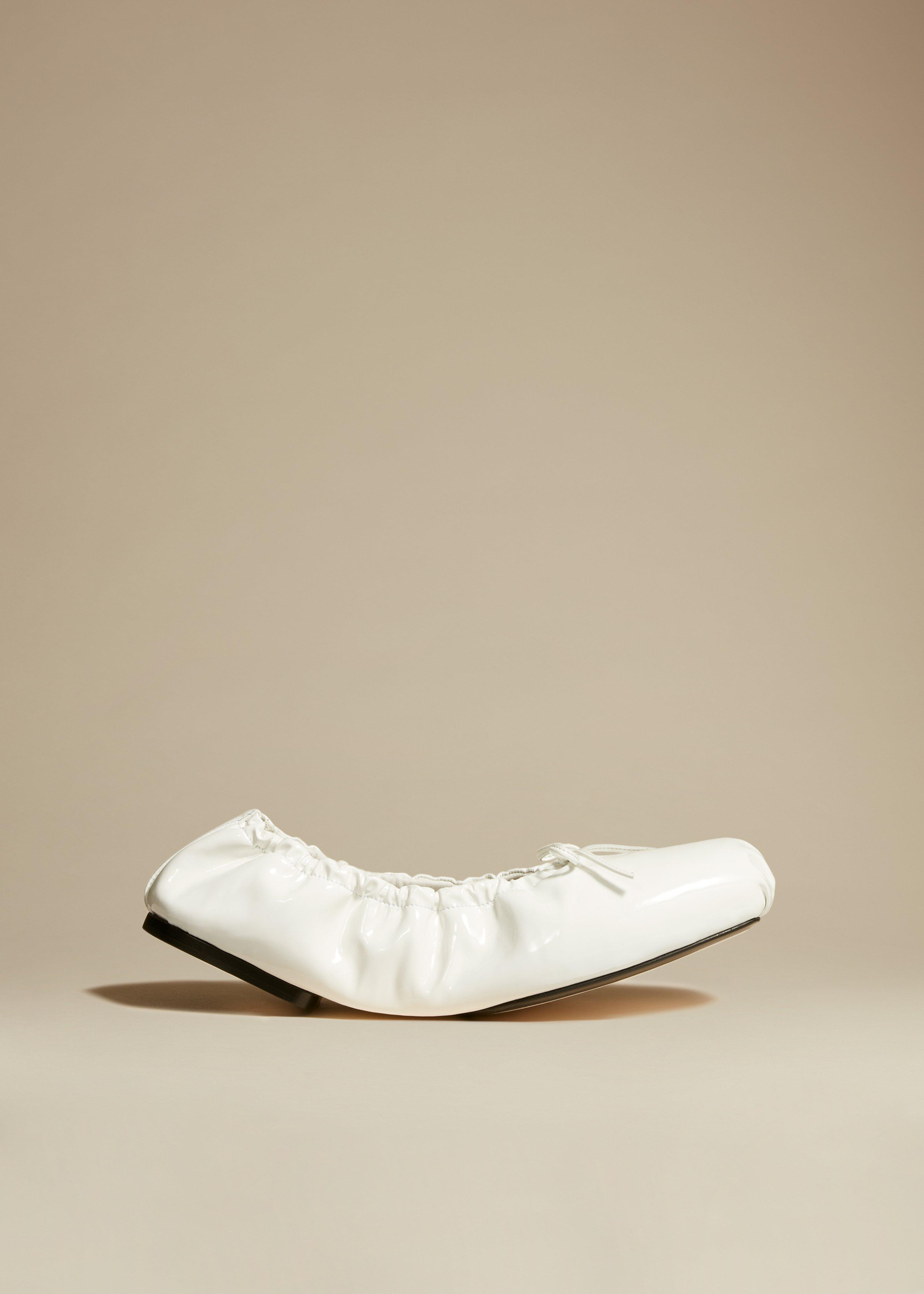 The Ashland Ballet Flat in White Patent Leather