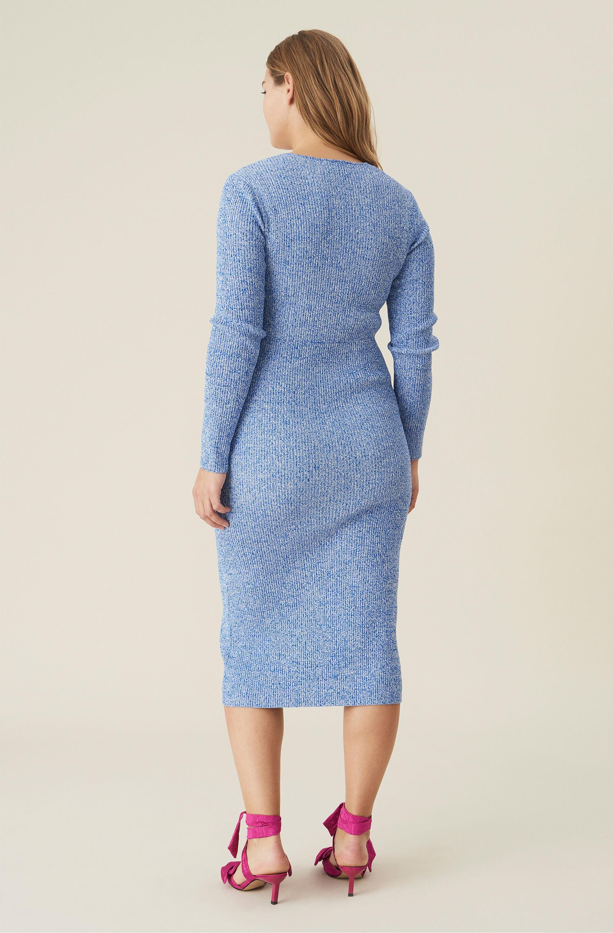Ribbed Rayon Knit Fitted Dress 1