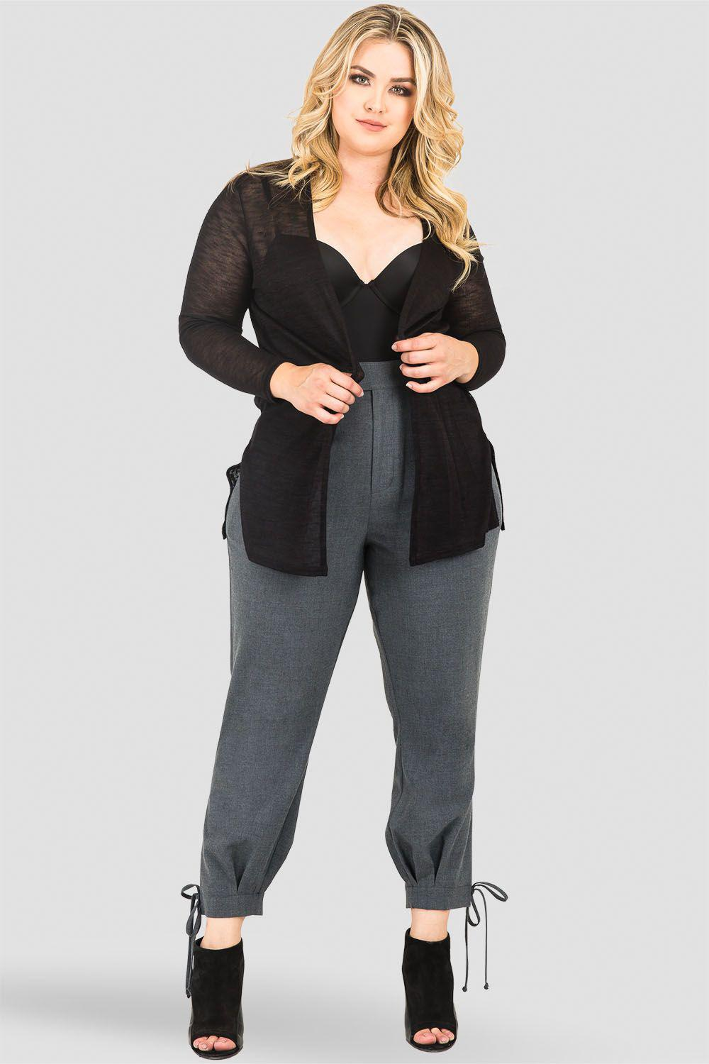 Plus Size Robie Double-Button High Waist Ankle Tie Cuff Trousers - Charcoal Gray