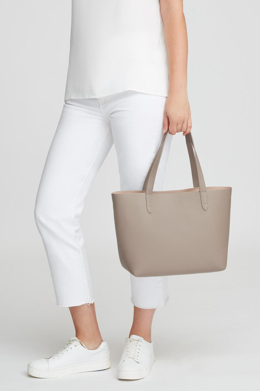 Women's Small Structured Leather Tote Bag in Stone/Blush Pink   Pebbled Leather by Cuyana 7