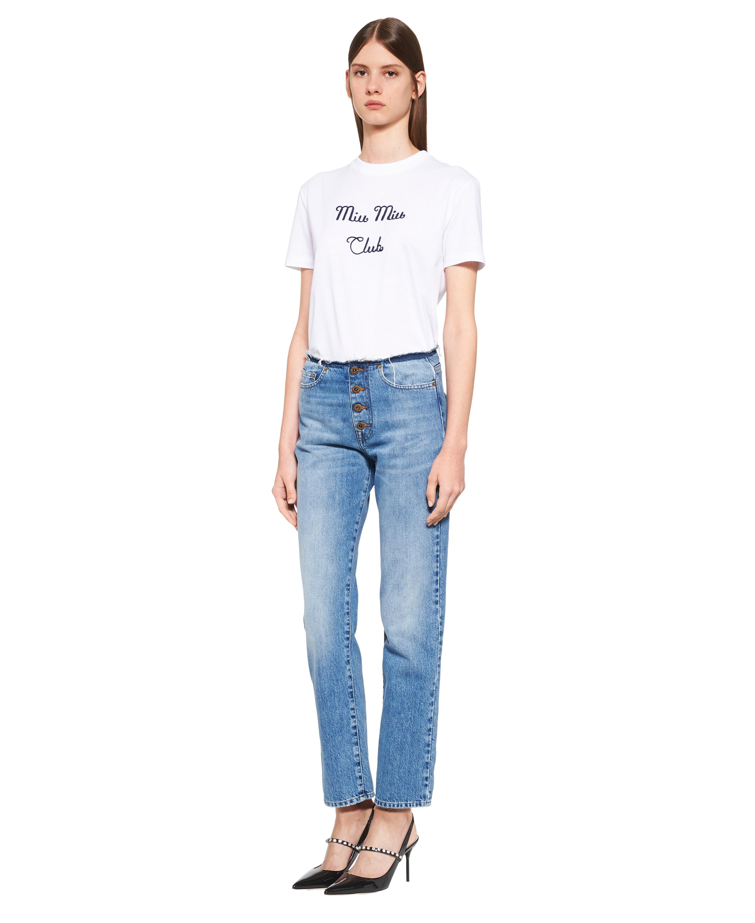 Embroidered Jersey T-shirt Women White 1