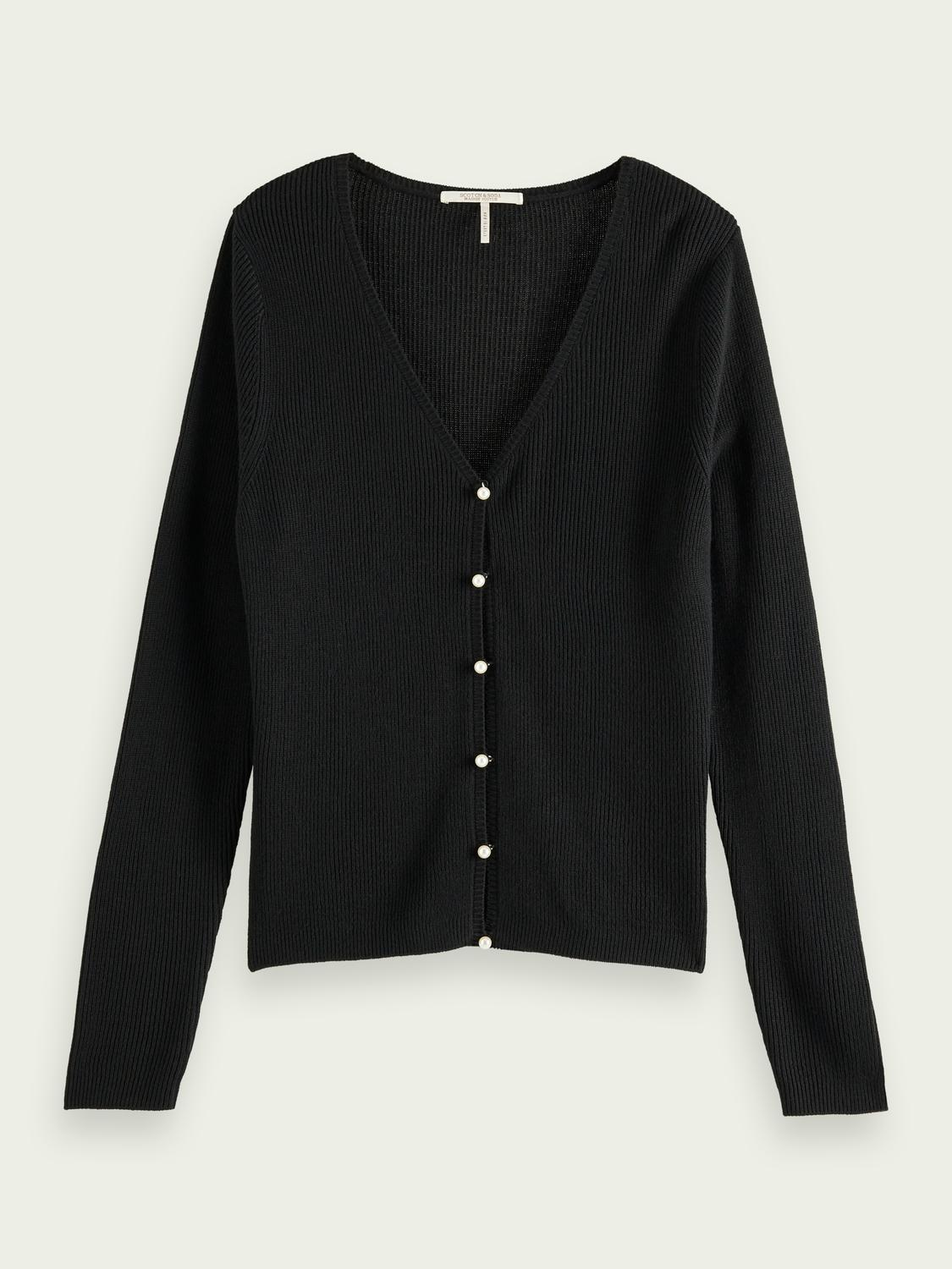 Faux pearl-buttoned cardigan 3