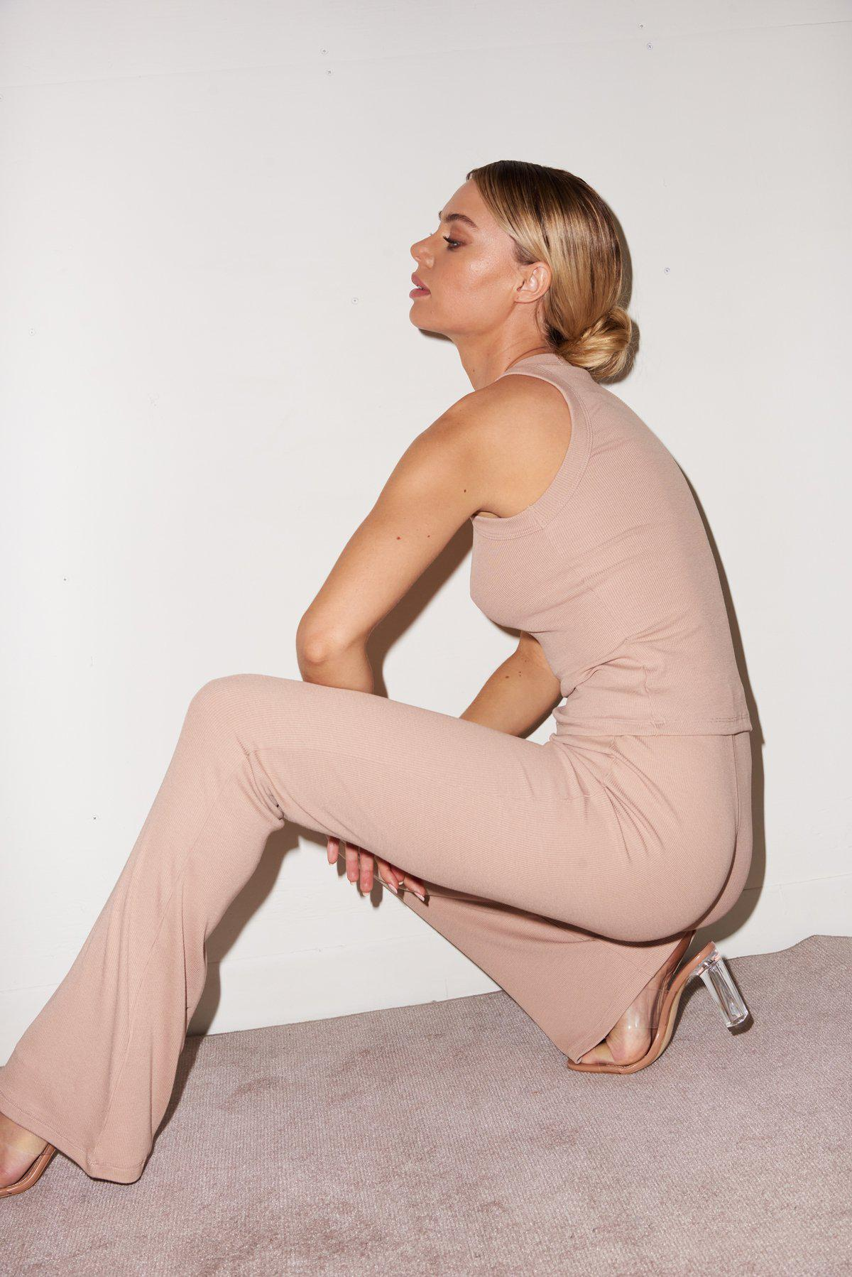 Ribbed Charlotte Pant - Nude 4