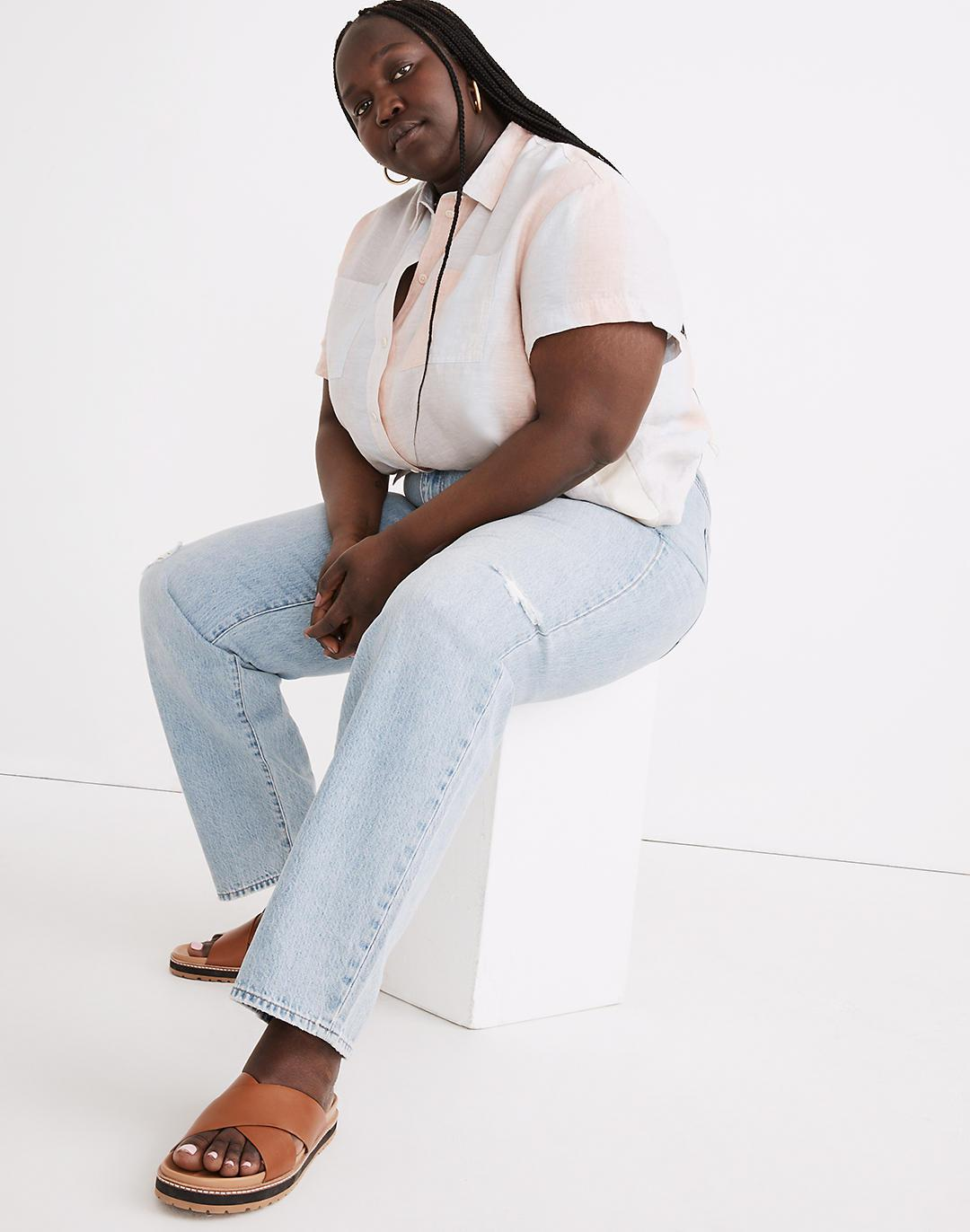 Plus Relaxed Jeans in Cresthaven Wash: Ripped Edition 1
