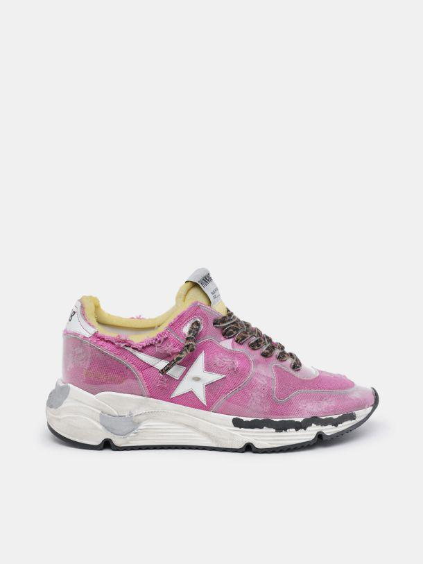 Fuchsia Running Sole LTD sneakers with raw edges