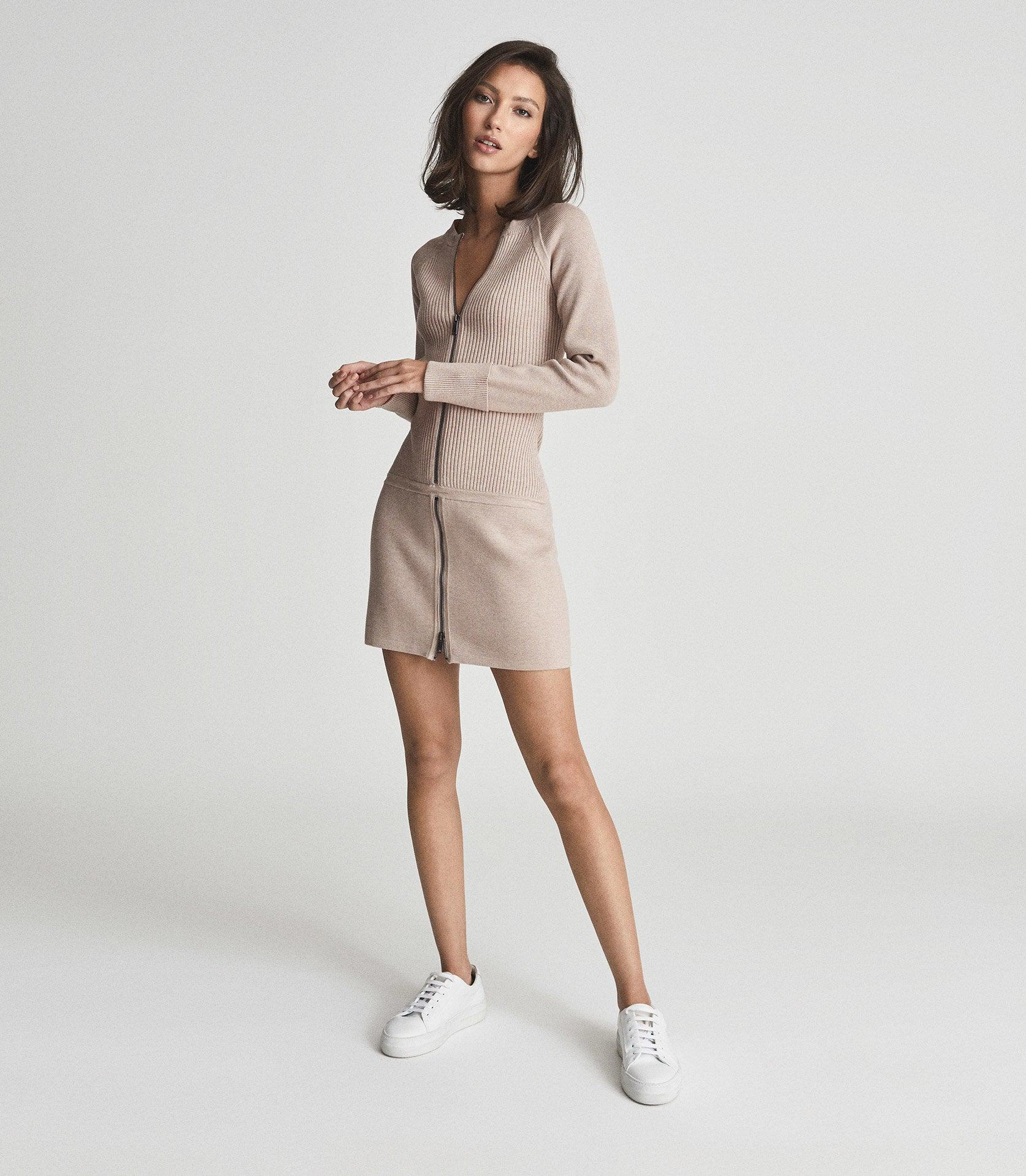 ASHLEIGH - KNITTED BODYCON DRESS WITH ZIP DETAIL