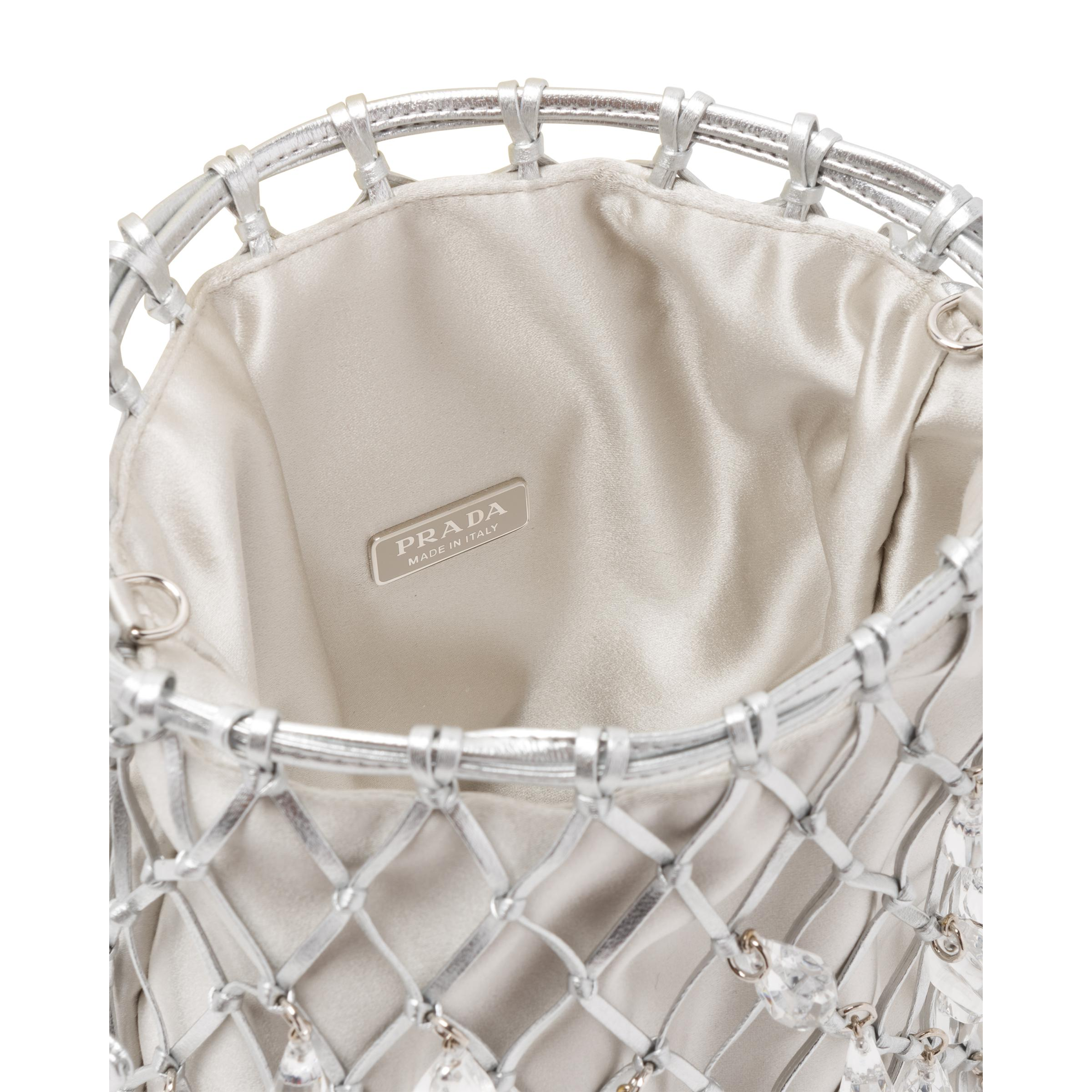 Leather Mesh And Satin Clutch Women Silver 4