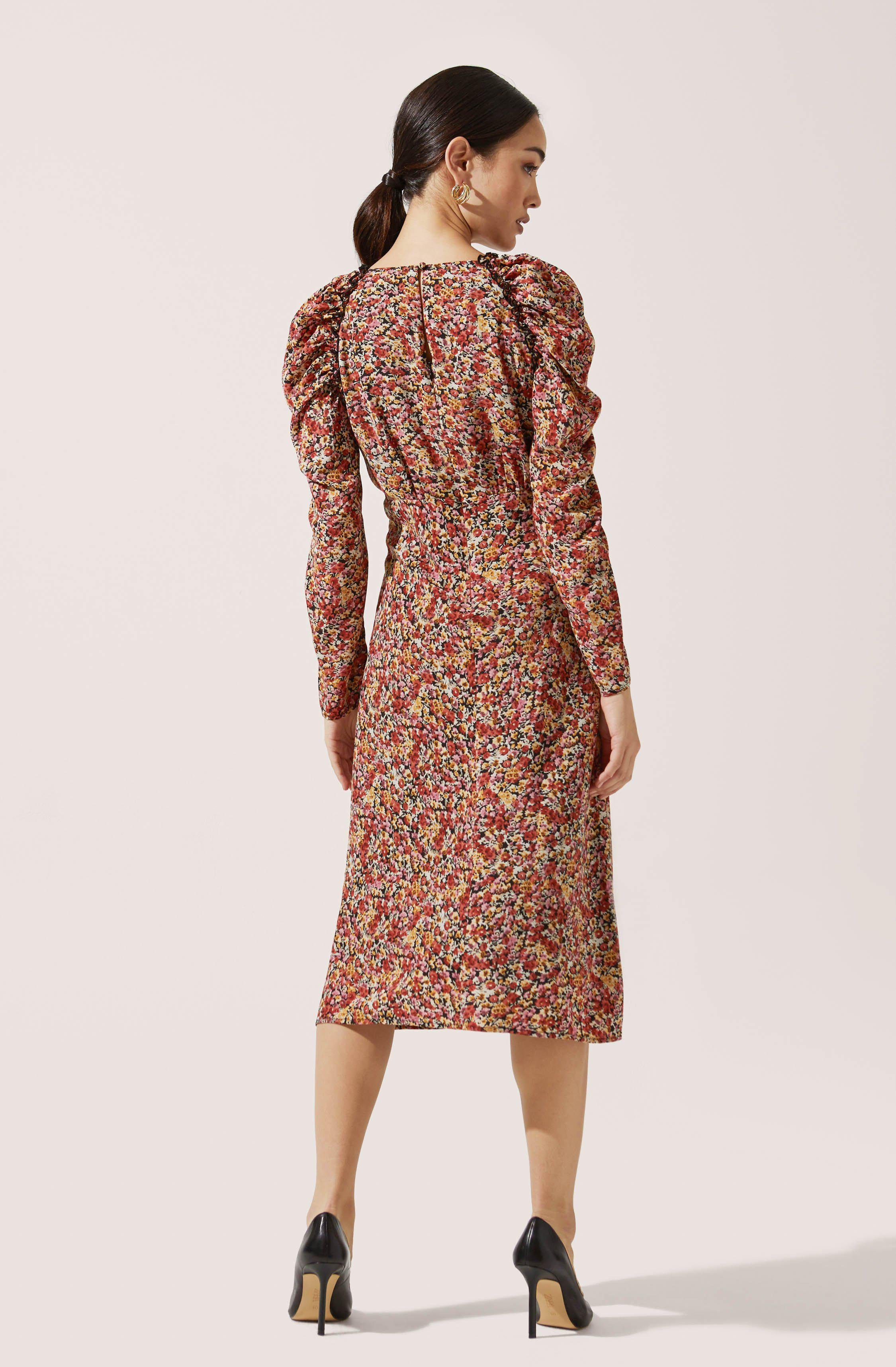 Ruched Sleeve Floral Midi 3