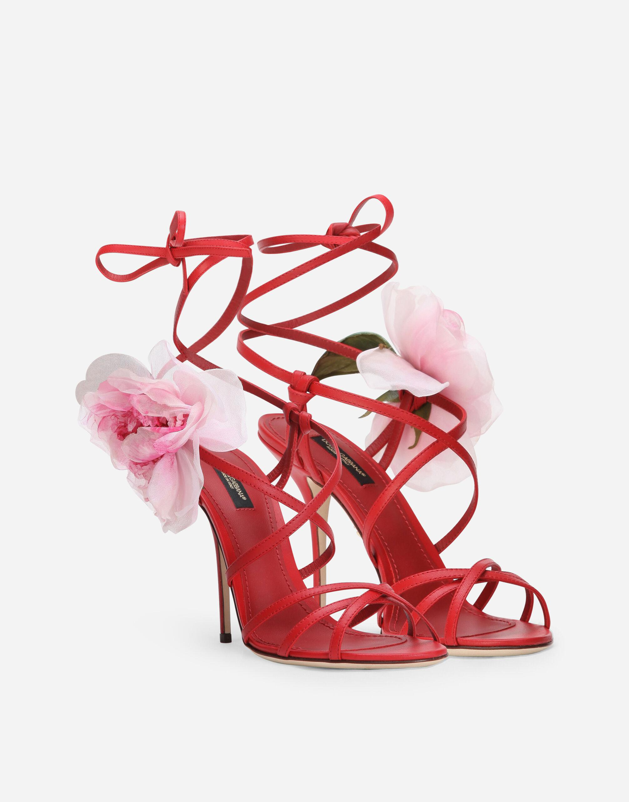 Nappa leather sandals with silk flower 1