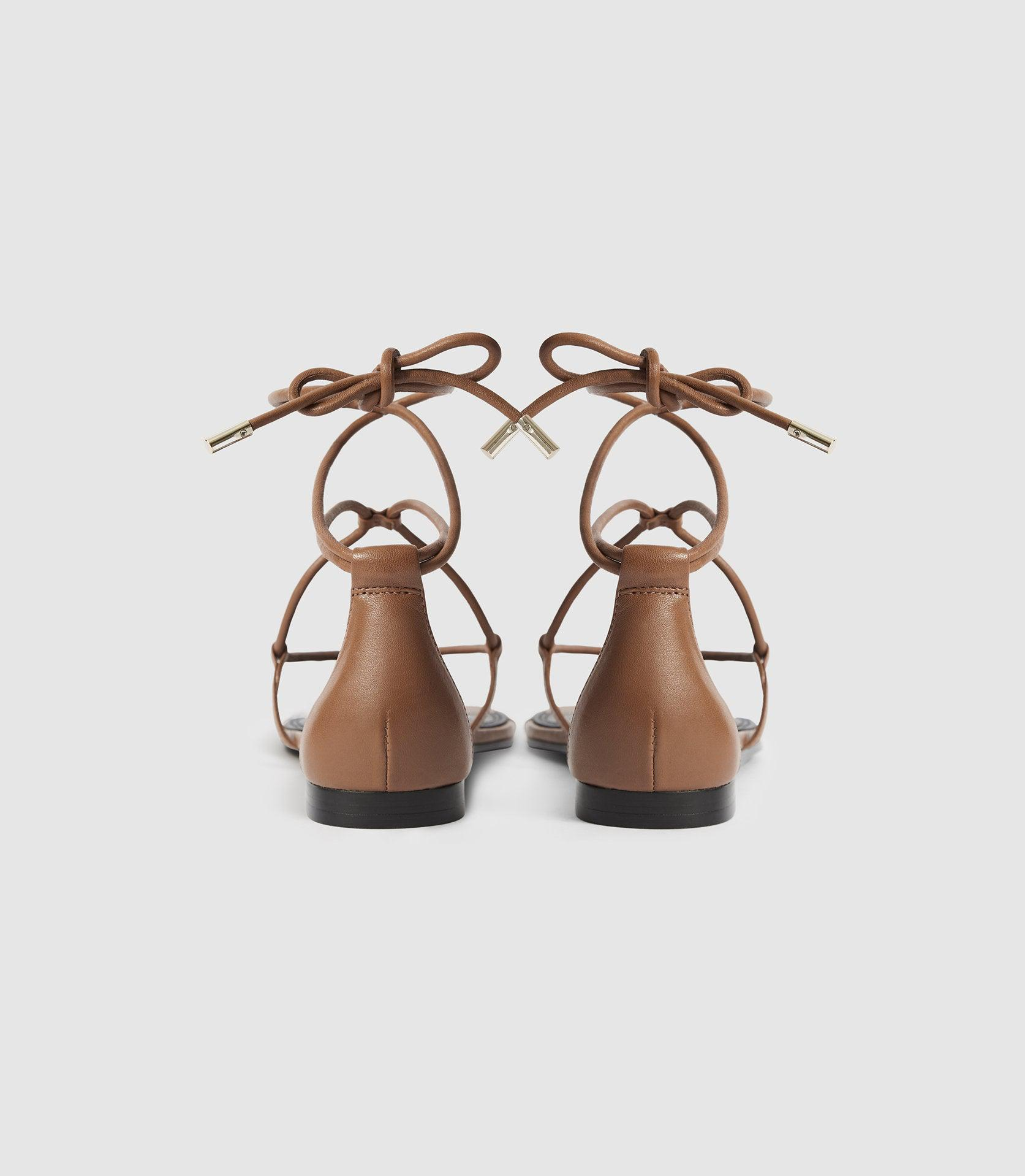 KALI FLAT - LEATHER STRAPPY WRAP SANDALS 3