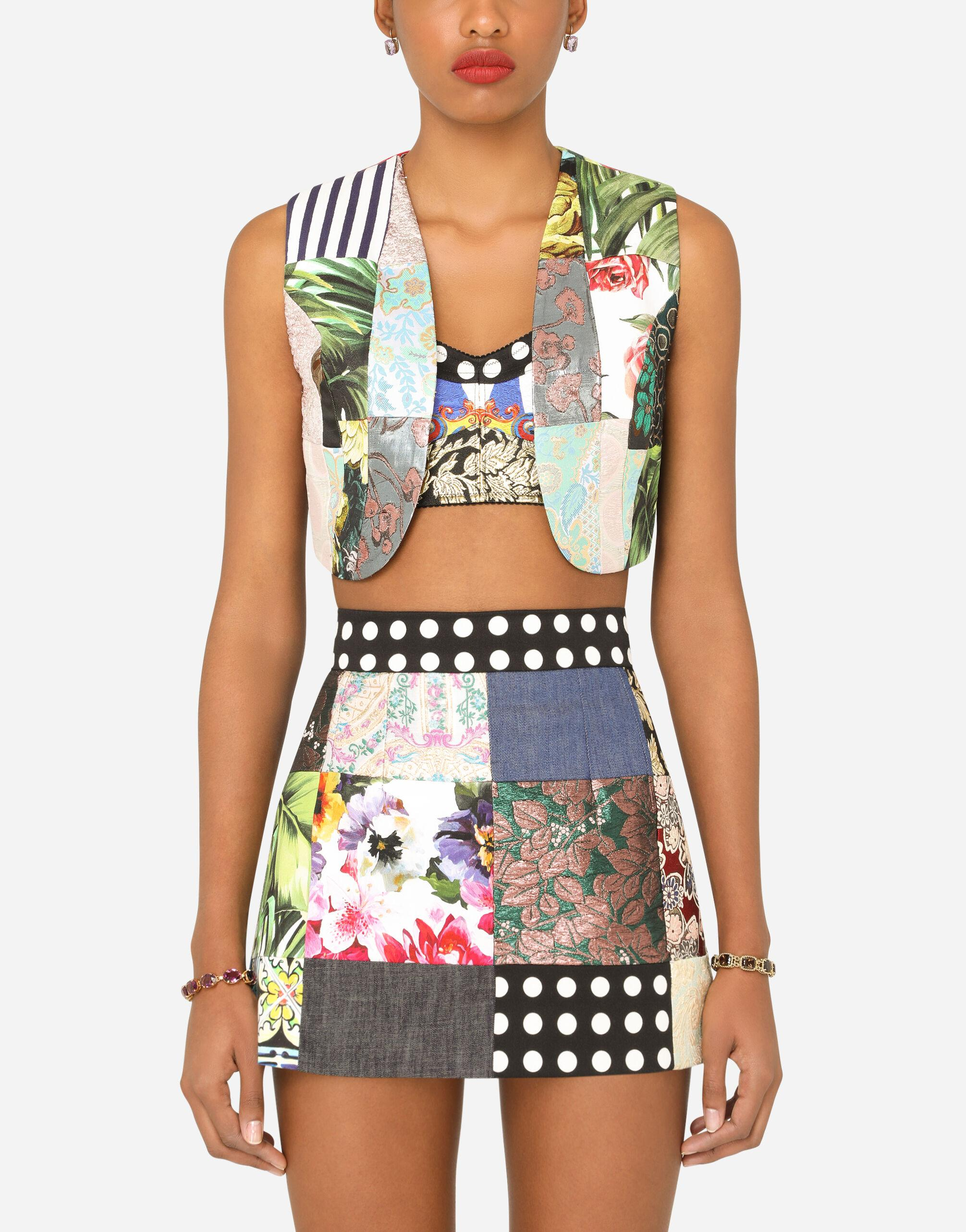 Patchwork brocade and drill jacquard vest