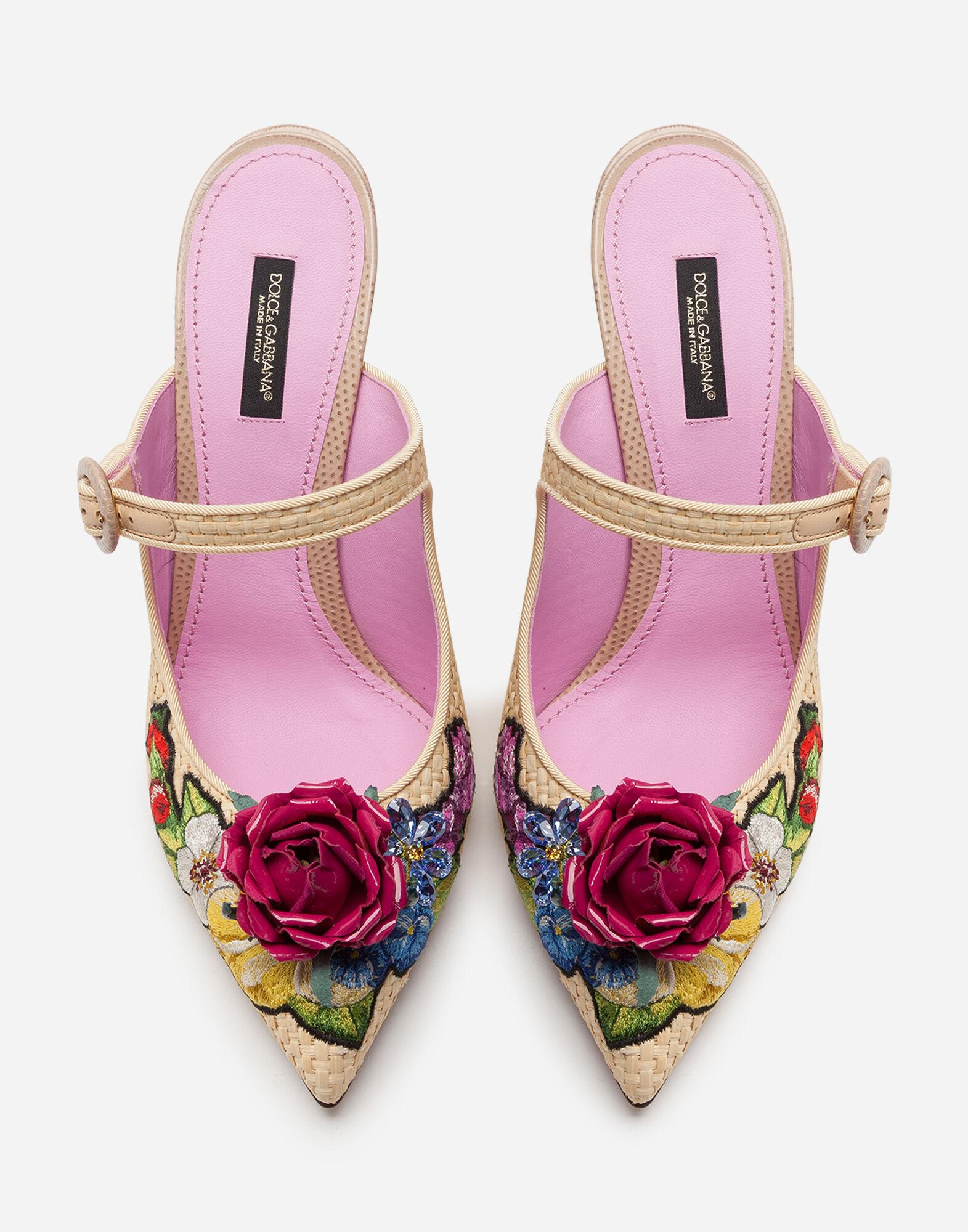 Braided raffia mules with floral embroidery 3