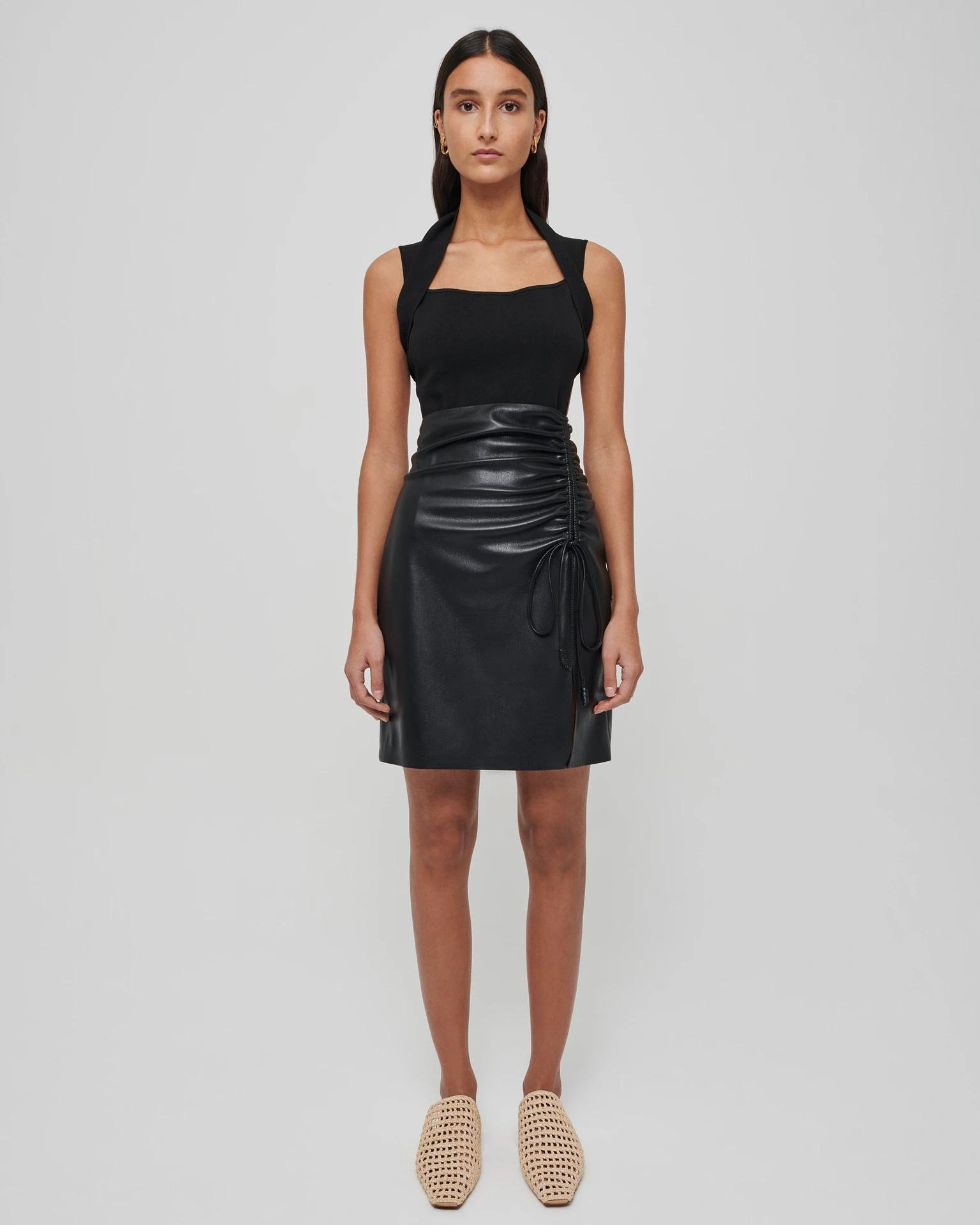ZOW - Ruched vegan leather mini skirt - Black