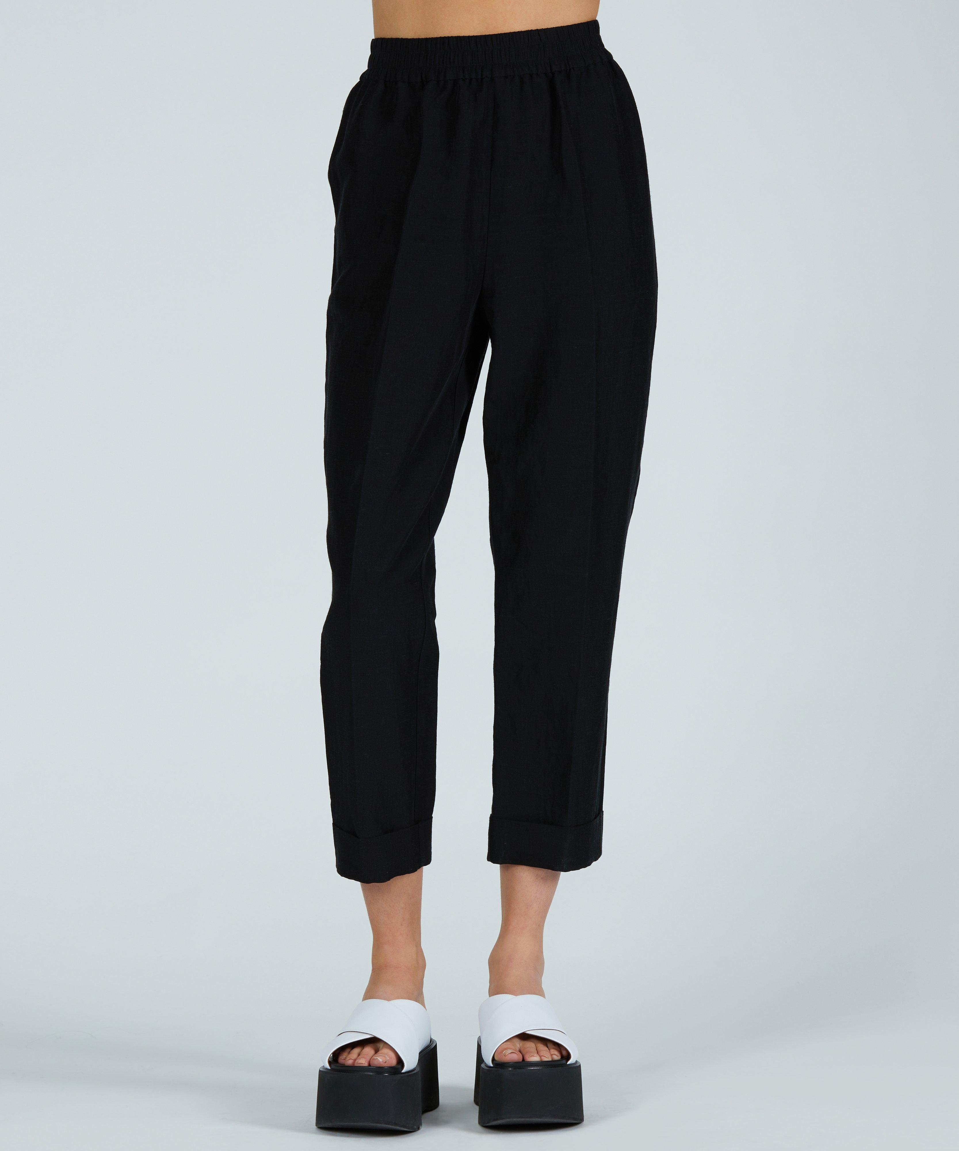 Linen Rayon Pull-On Cuff Pant - Black 0