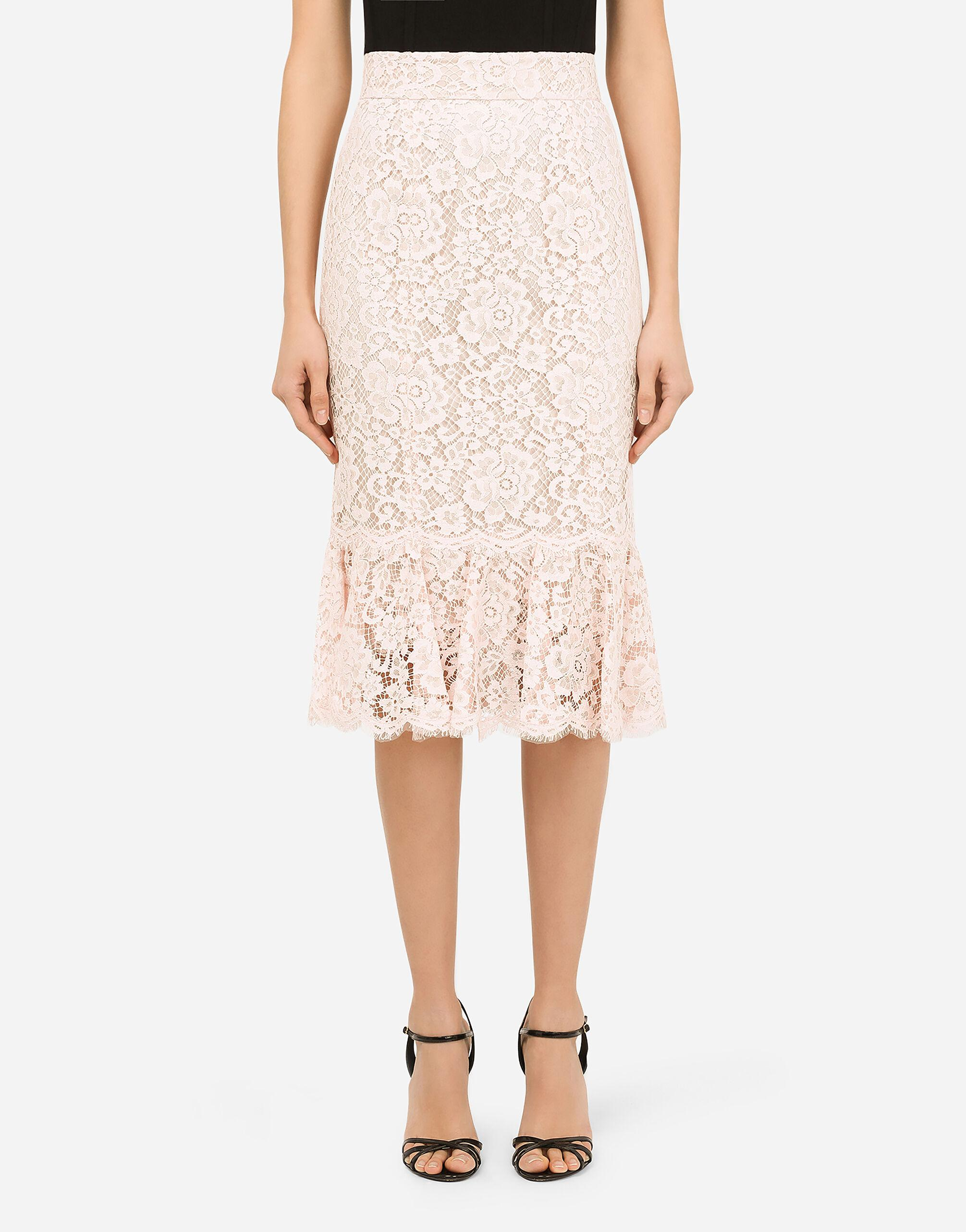 Lace midi skirt with ruffle detailing