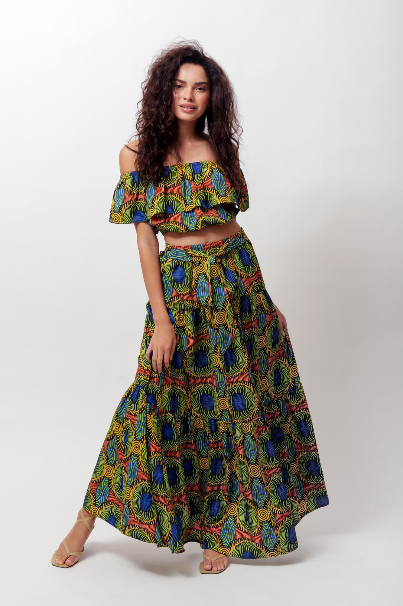 Nyla Crop Top and Skirt Two Piece Set