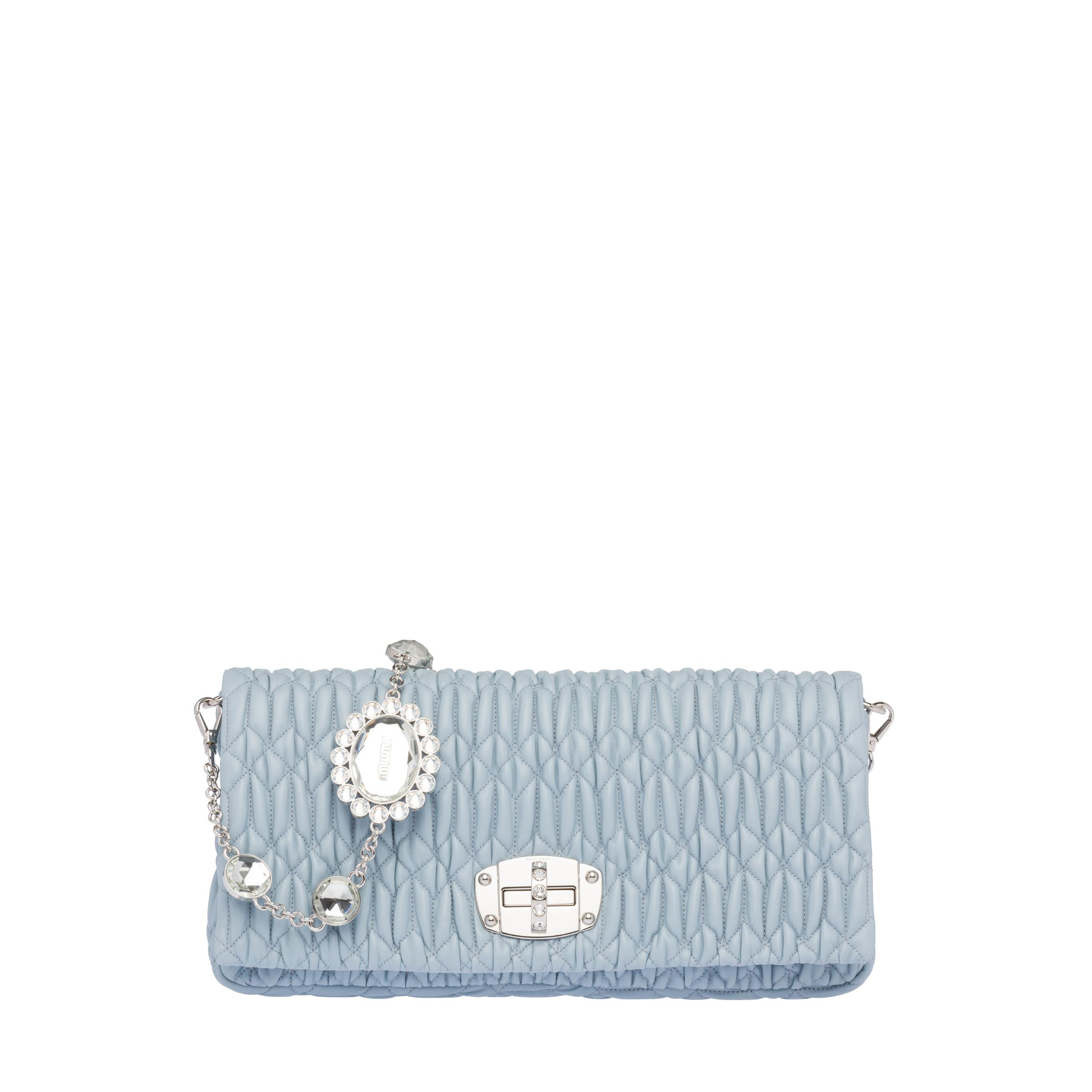 Iconic Crystal Cloqué Nappa Leather Bag Women Navy