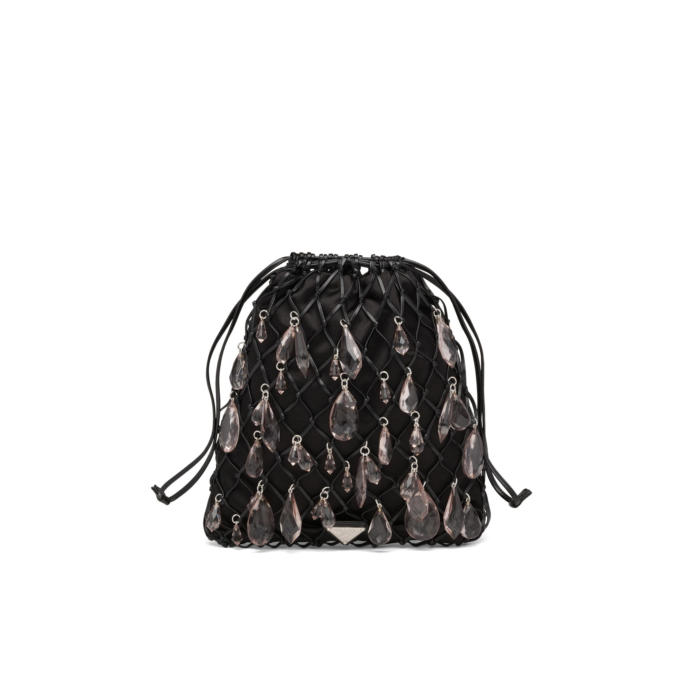 Leather Mesh And Satin Clutch Women Black