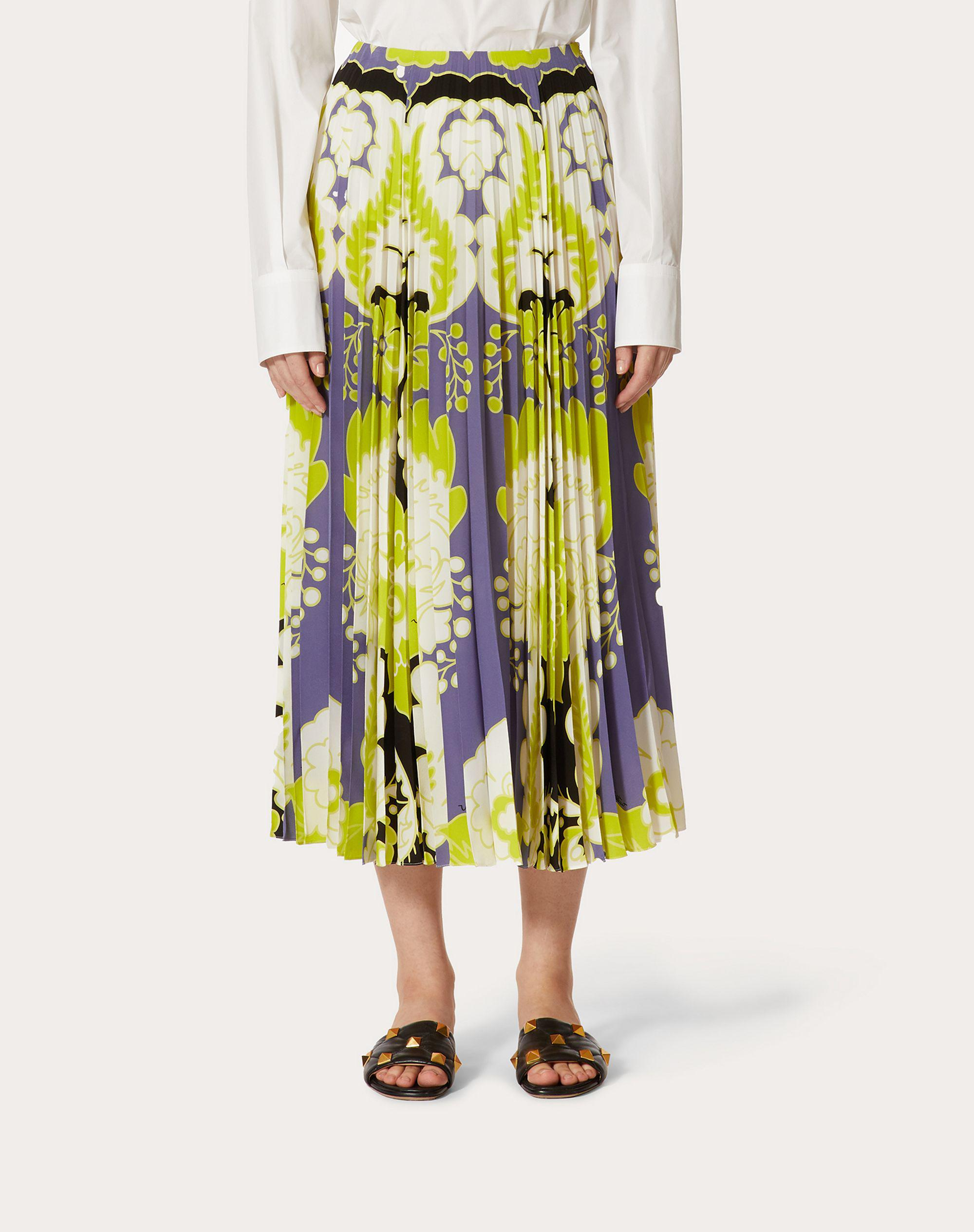 CREPE DE CHINE PLEATED SKIRT WITH PRINT 1
