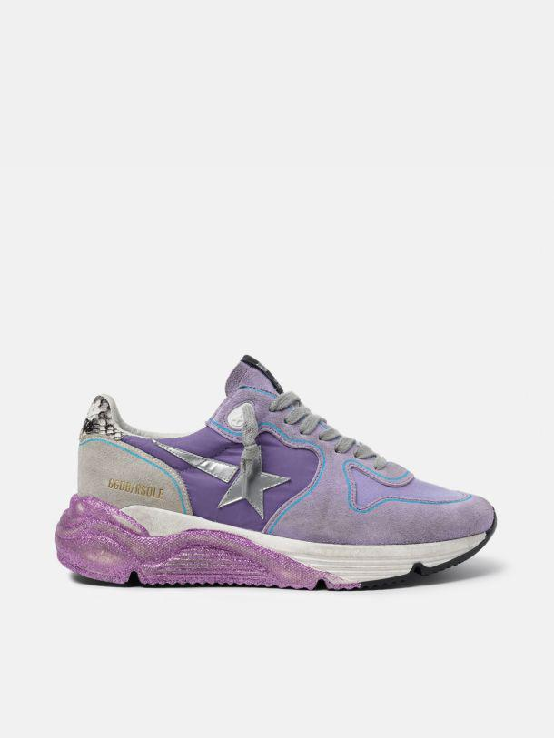 Lavender Running Sole sneakers with glittery sole and silver star