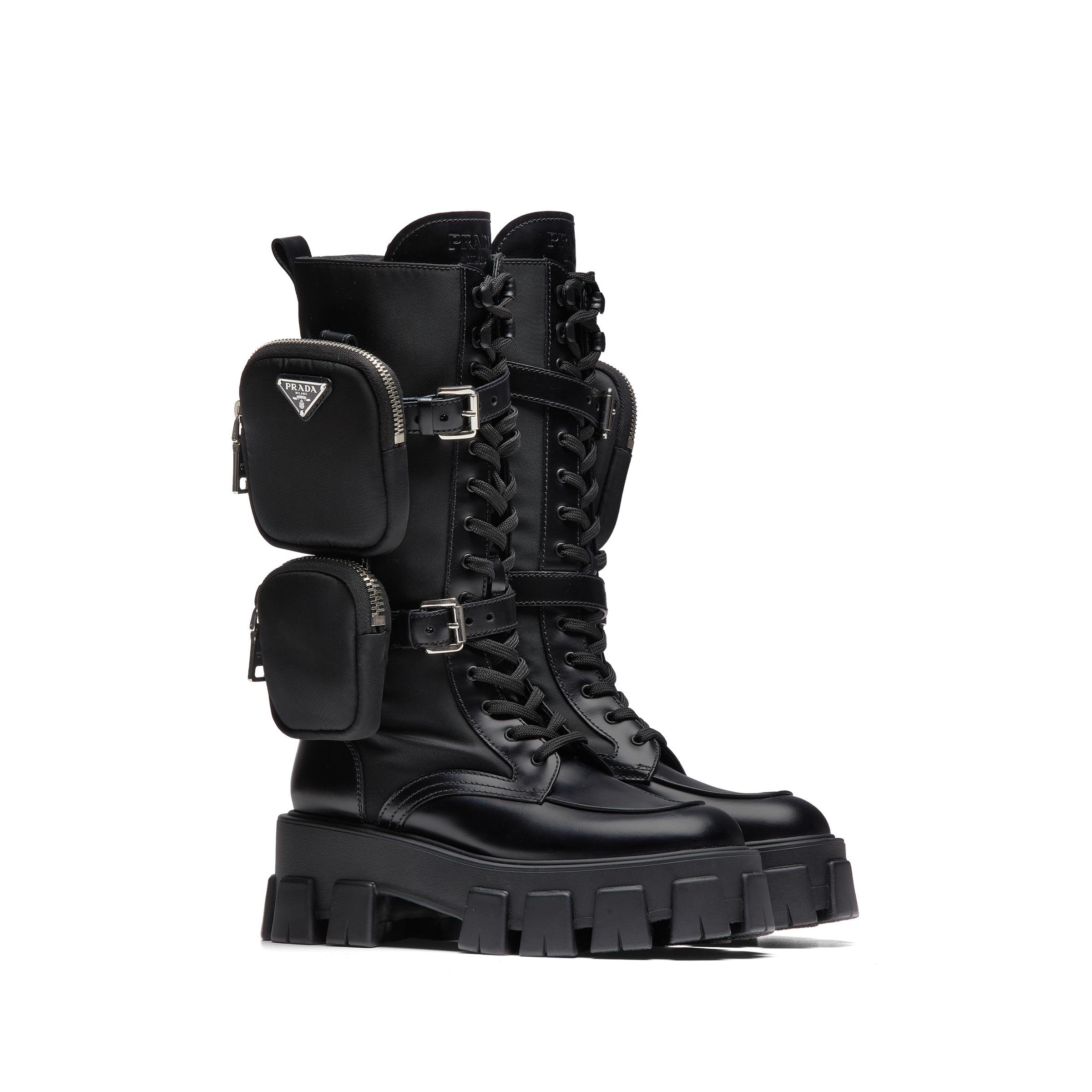 Brushed Rois Leather And Nylon Monolith Boots Women Black