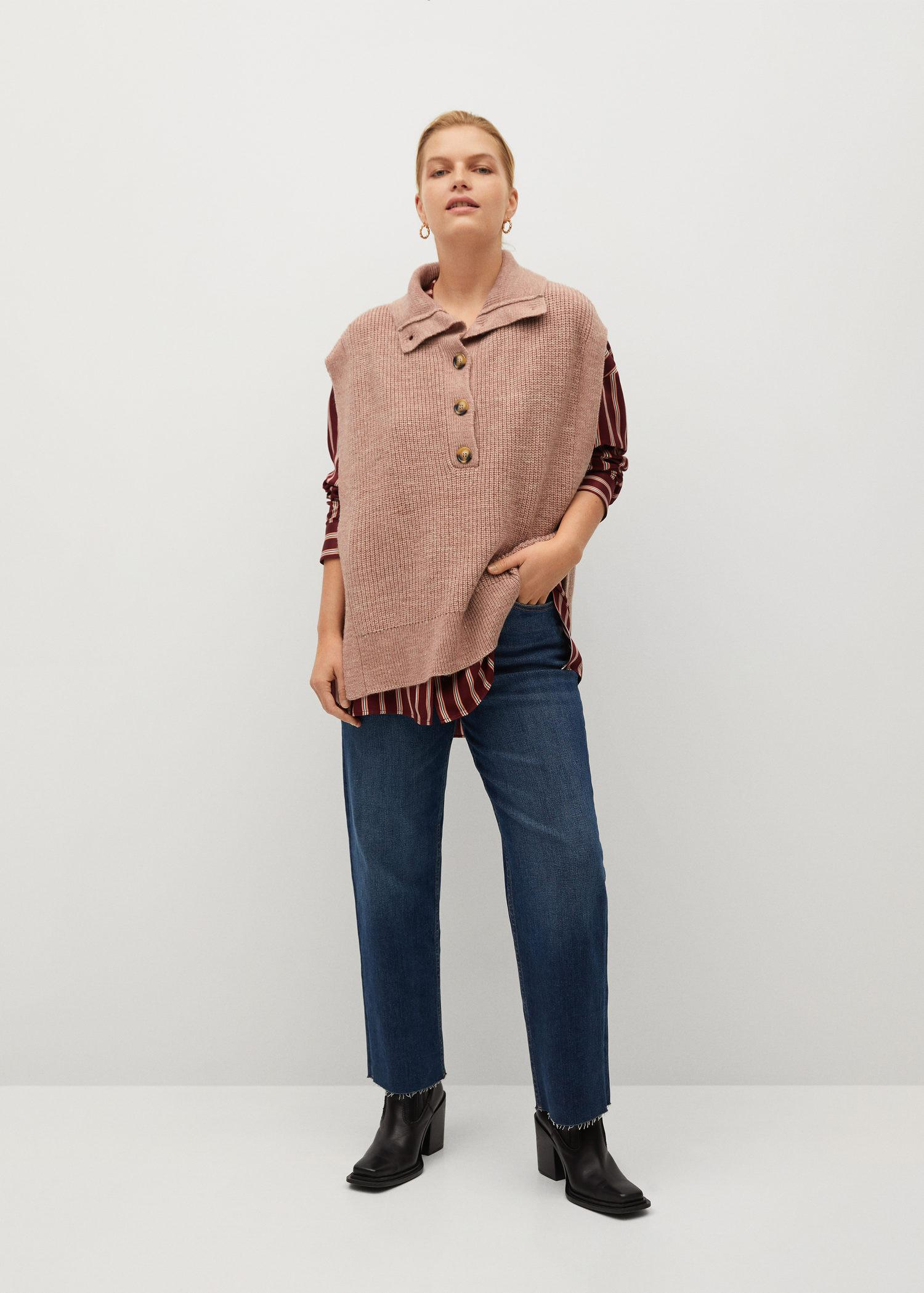 Button-neck knitted vest