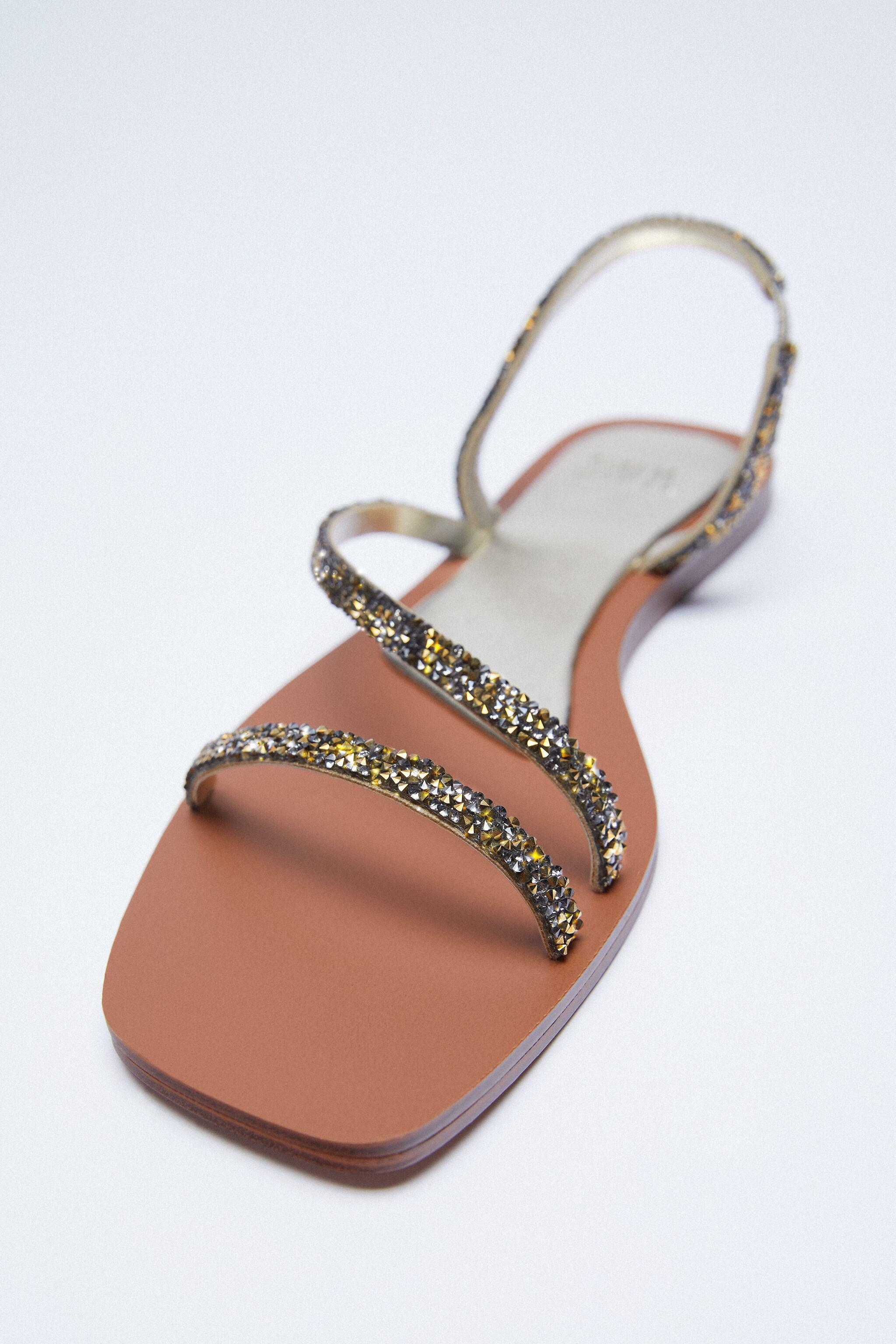 SPARKLY LOW HEELED SANDALS 1