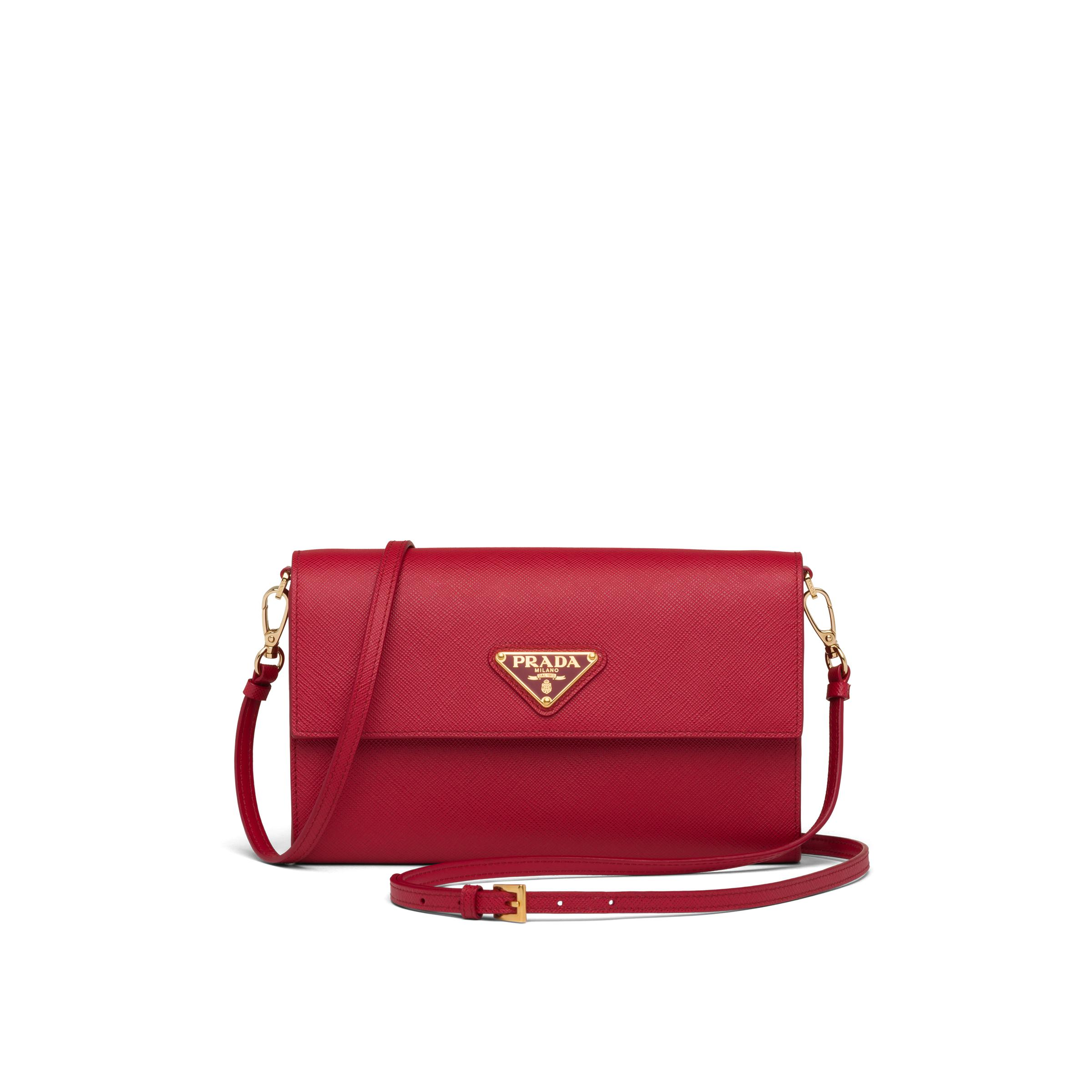 Saffiano And Leather Wallet With Shoulder Strap Women Fiery Red 0
