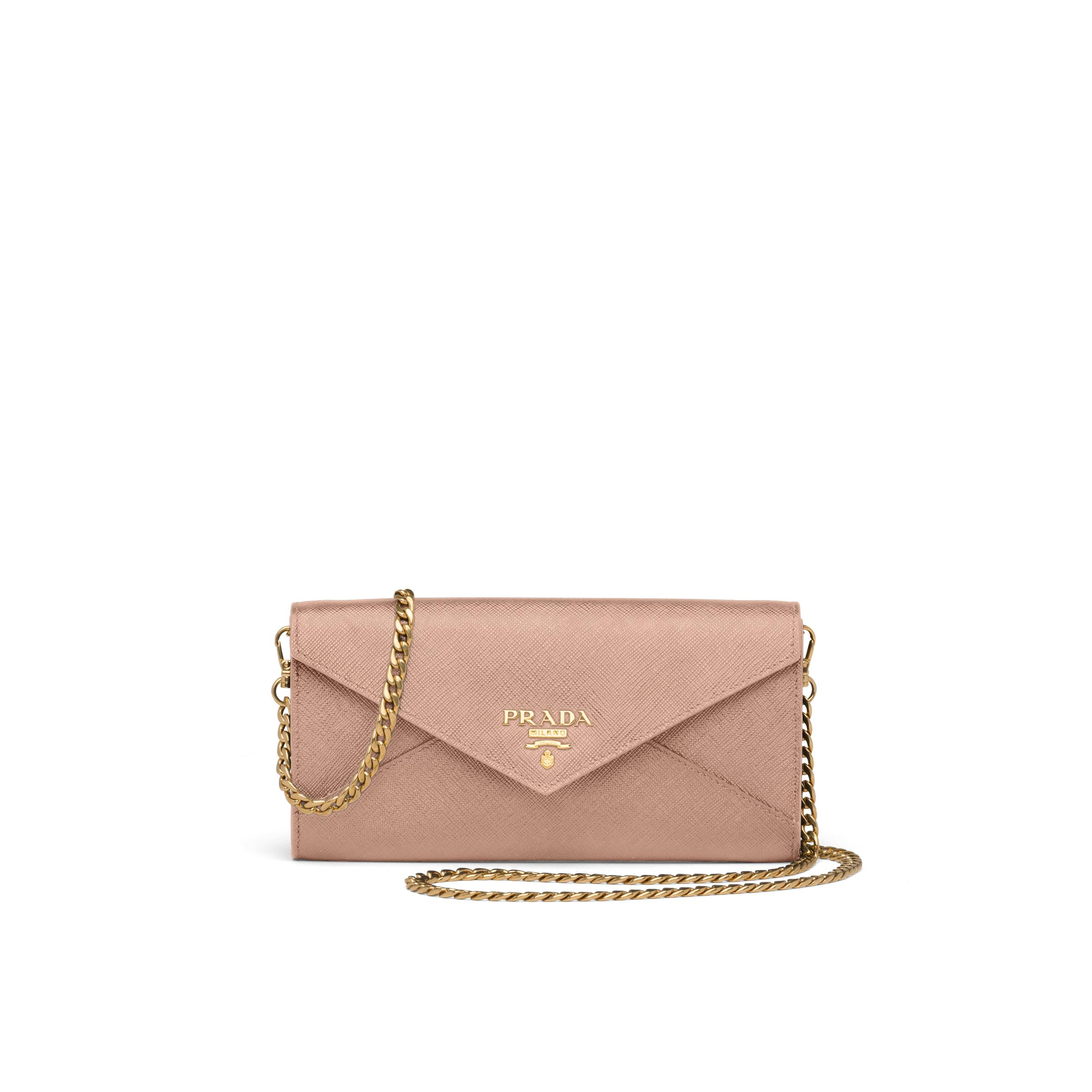 Saffiano Leather Wallet With Shoulder Strap Women Powder Pink