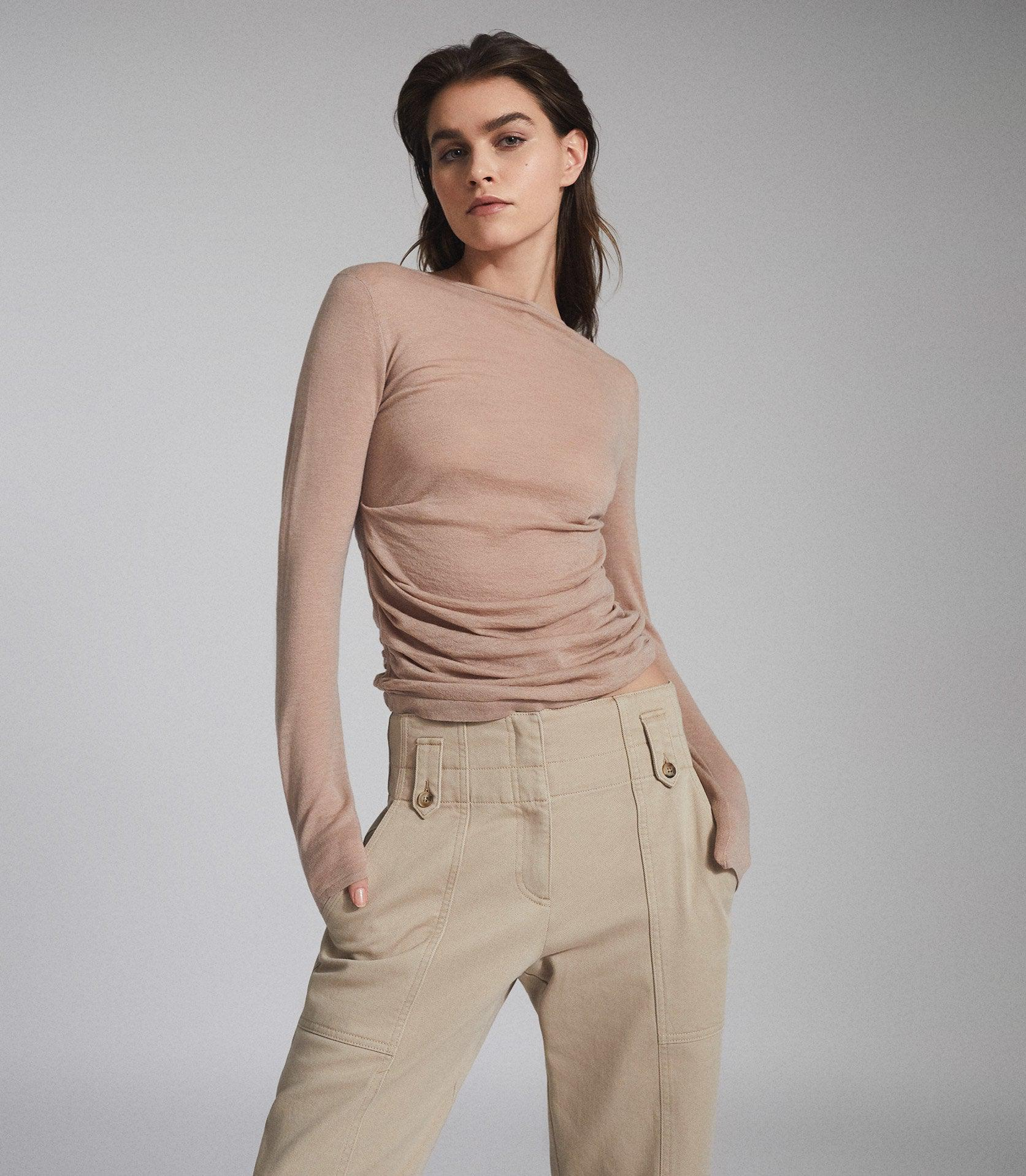 MARGOT - WOOL CASHMERE BLEND RUCHED TOP 4