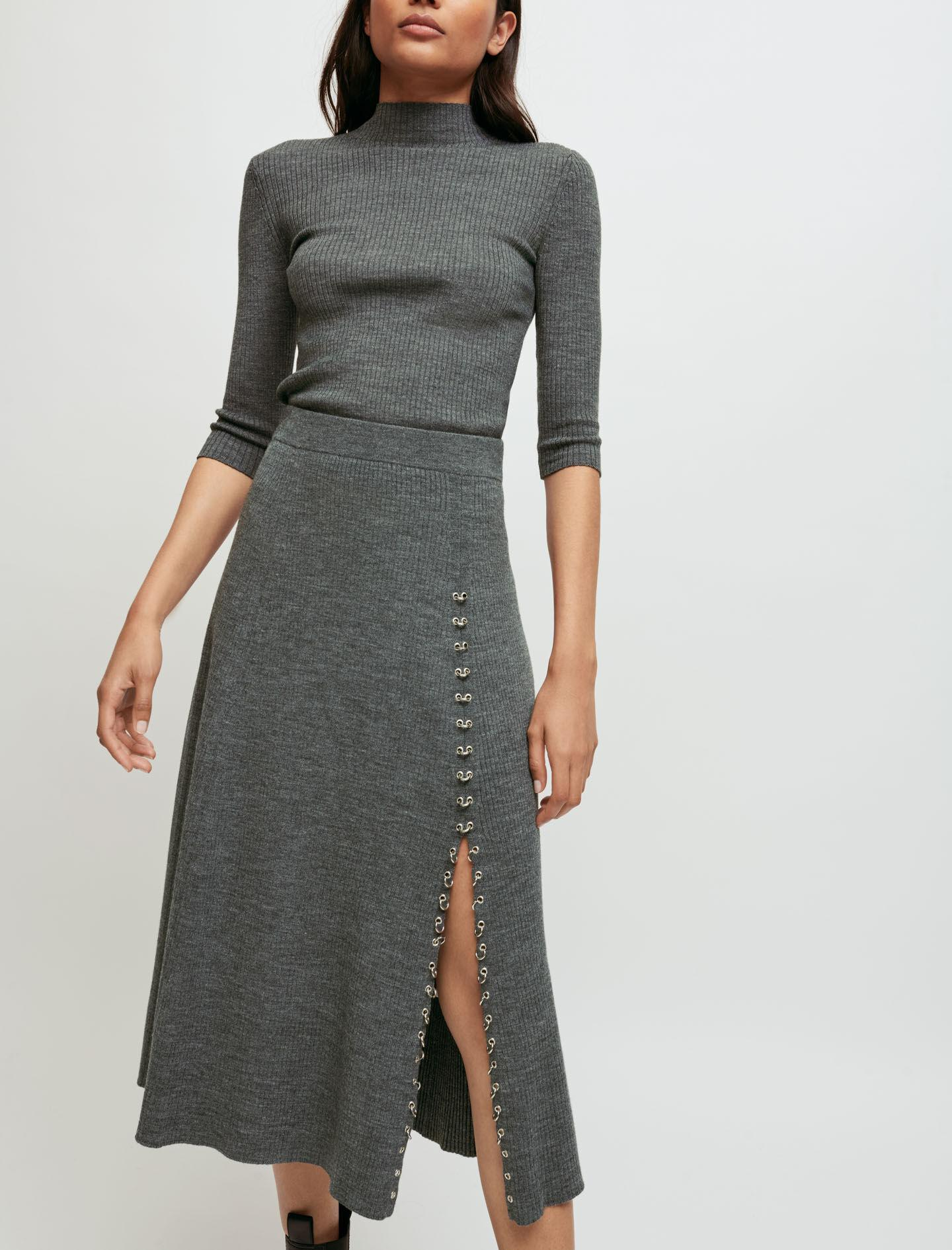 KNITTED SLIT SKIRT WITH PIERCINGS 1