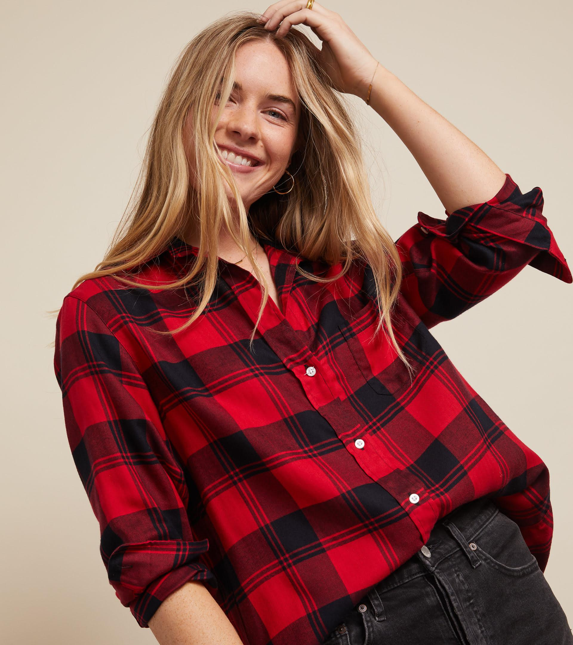 The Hero Button-Up Shirt Red and Black Plaid, Liquid Flannel